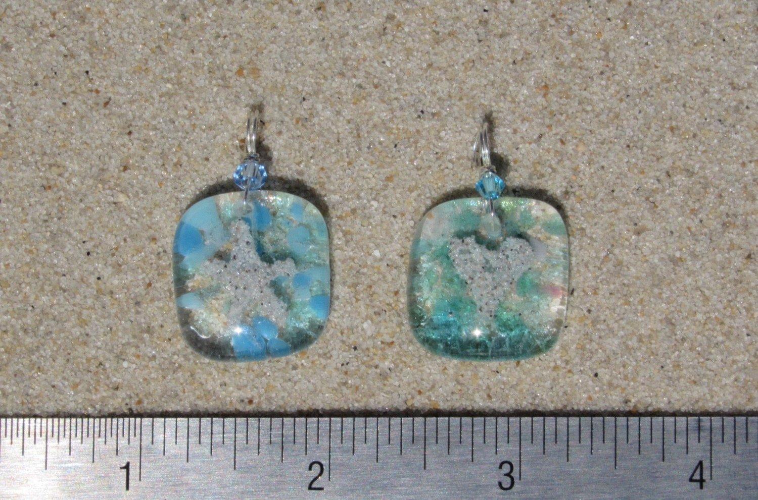 seafoam turquoise aquamarine silver wire wrapped Sanibel blue mix mosaic fused glass pendant real beach sand fused in glass