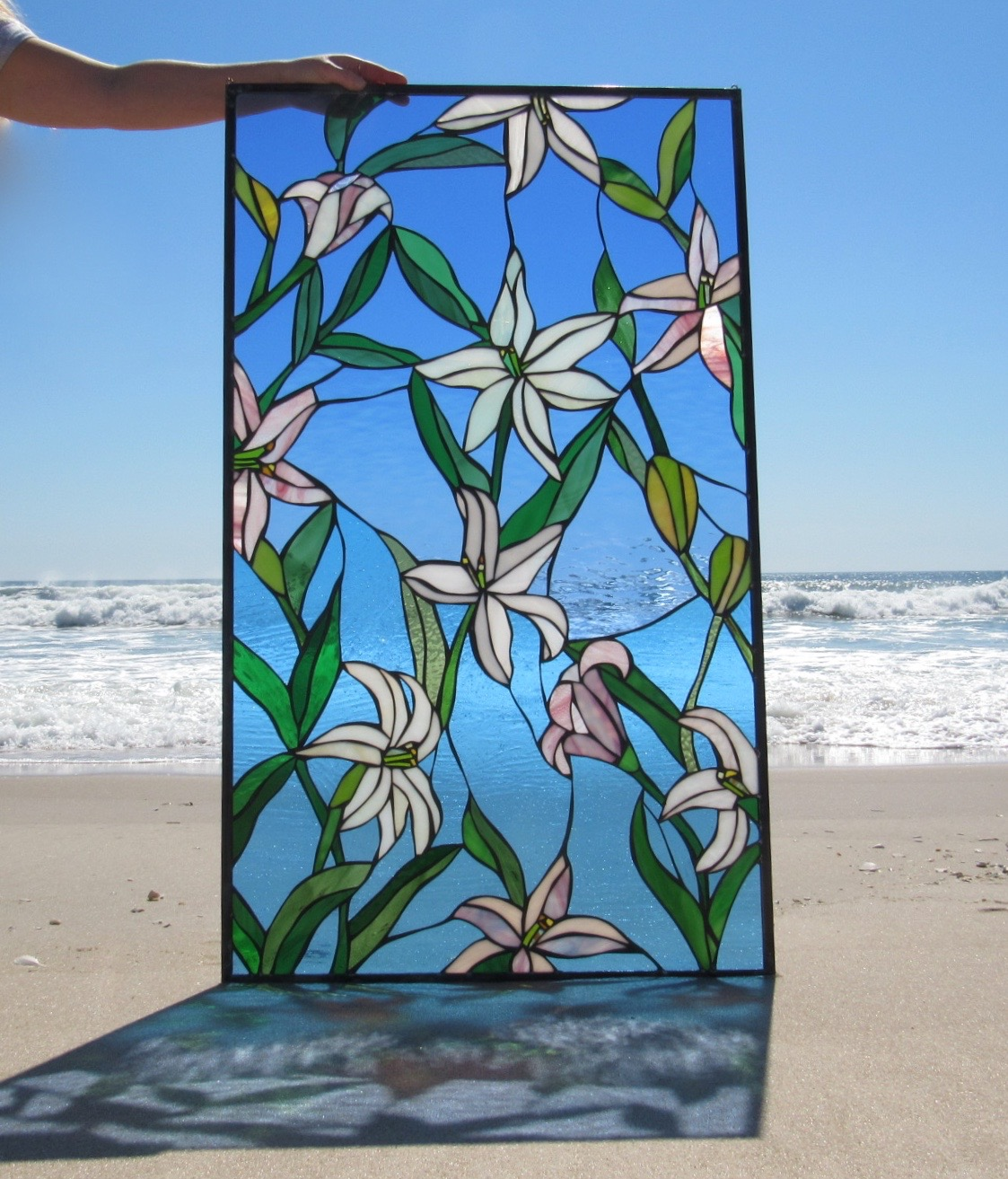 Atlanticare Custom Lilies Stained Glass Panel 1.jpg
