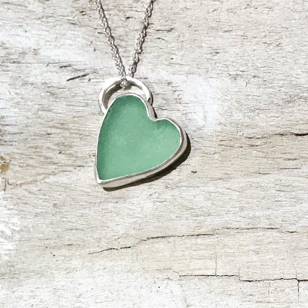 Beach Style Jewelry Sea glass Pink Heart Silver Necklace Charm Necklace Sea glass Necklace