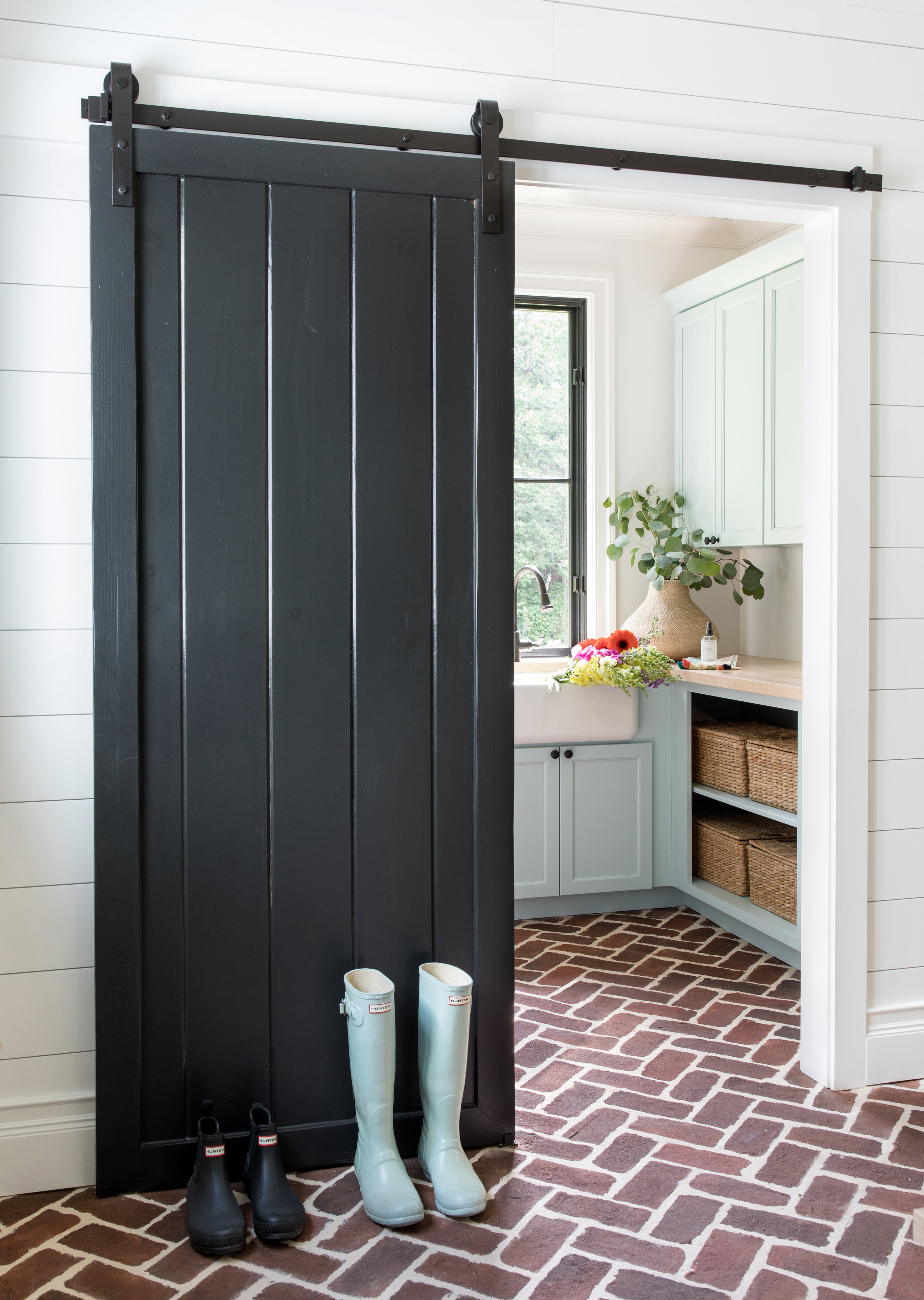 Mudroom Barn Door Brick Flooring Blue Cabinets Modern Farmhouse Stephanie Kraus Designs