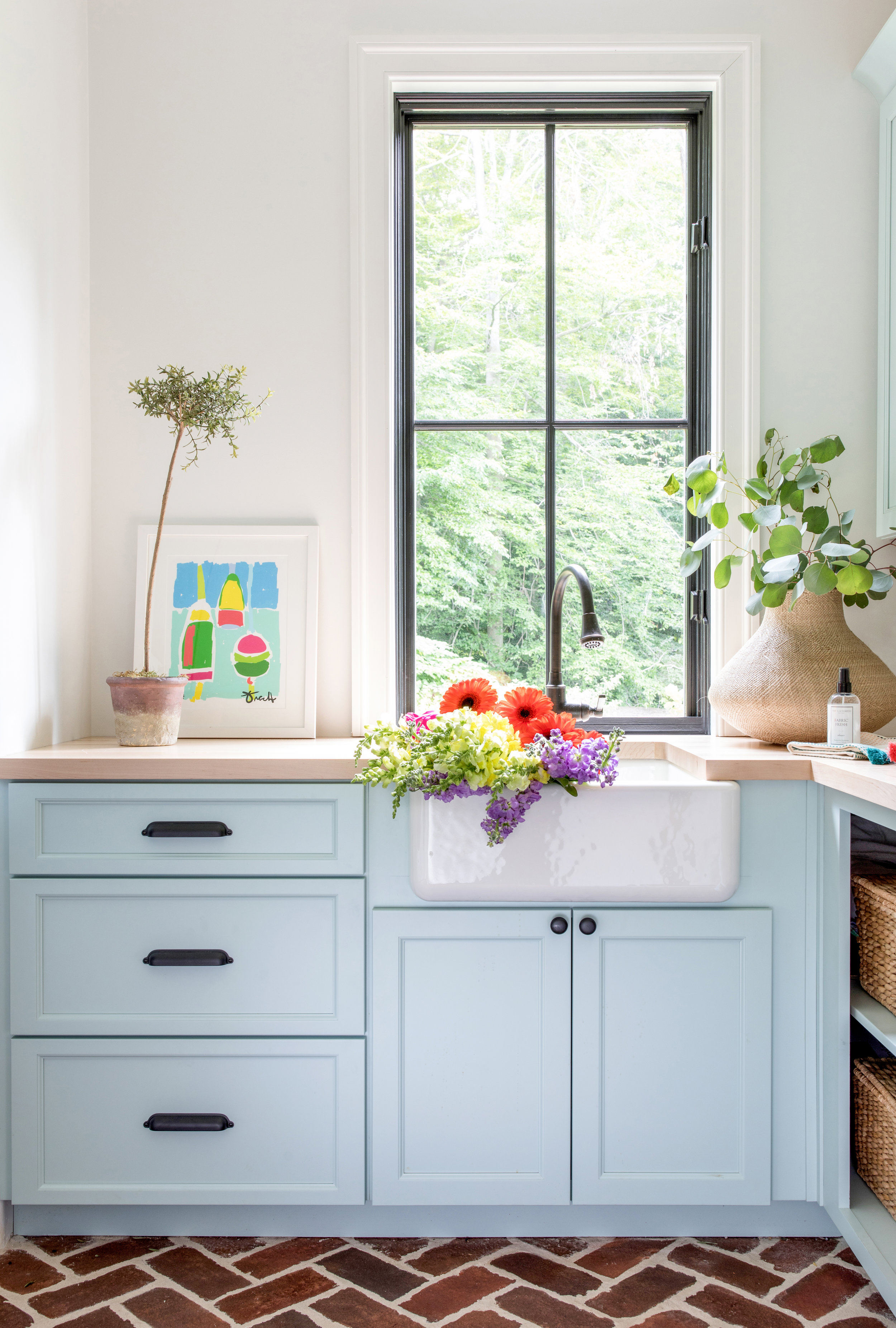 Laundry Room Blue Cabinets Farmhouse Sink Wood Countertops Brick Flooring Black Windows Modern Farmhouse Laundry Room Stephanie Kraus Designs