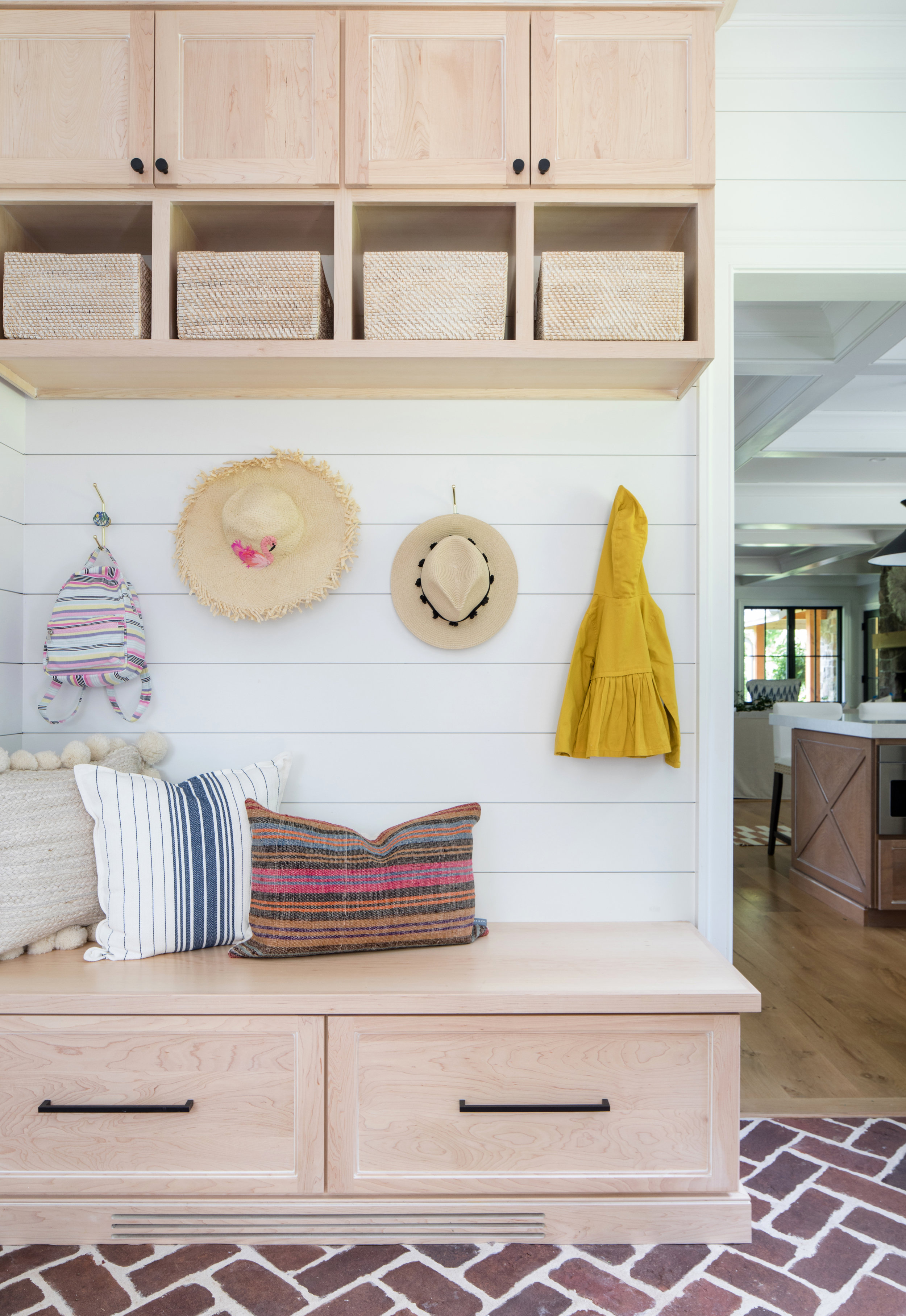 Mudroom Natural Wood Cabinets Mudrom Cubbies Modern Farmhouse Shiplap Brick Floors Stephanie Kraus Designs