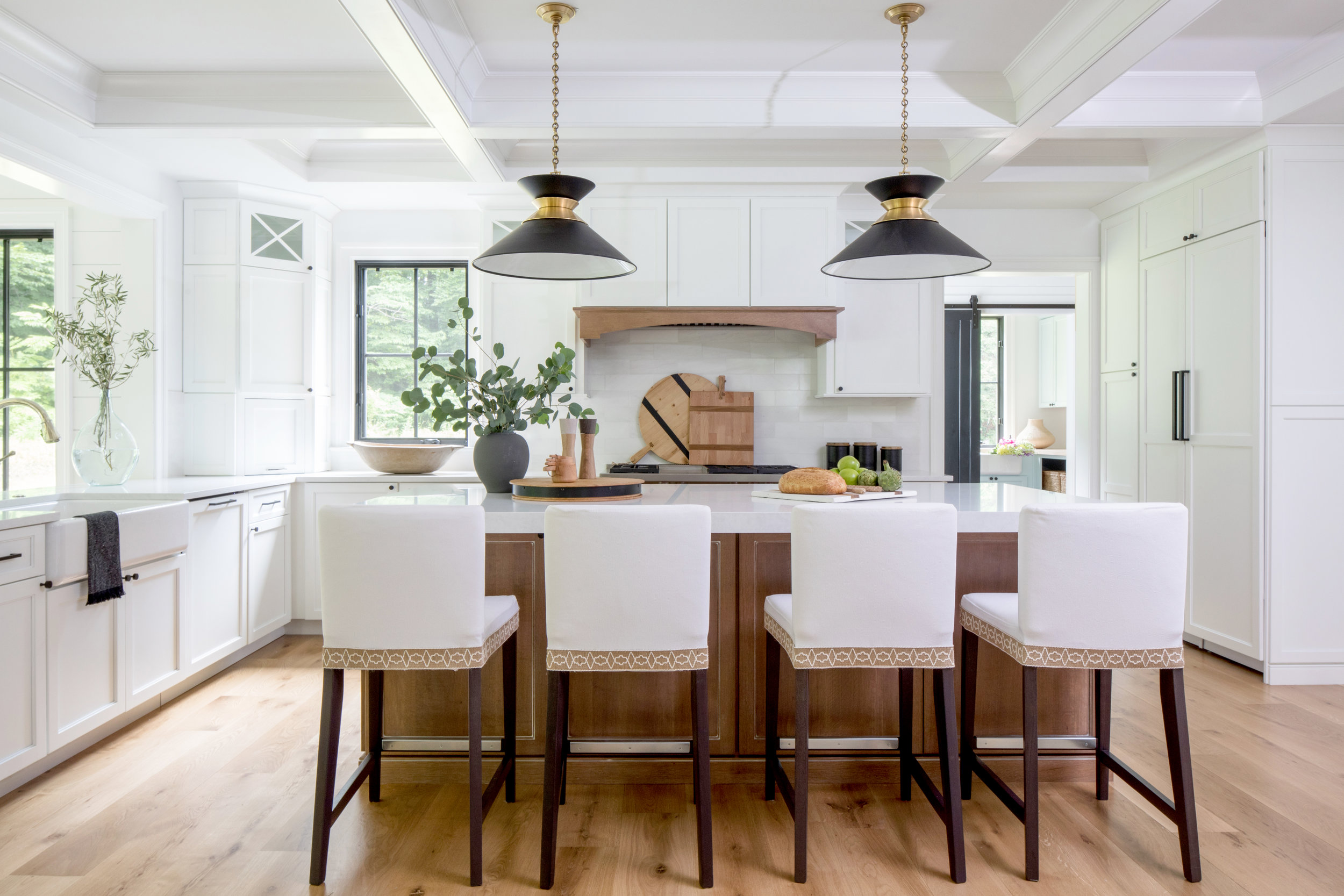 Kitchen Natural Wood Island White Cabinets Black Hardware Black Pendant Lights Modern Farmhouse Kitchen Black Windows Coffered Ceiling Stephanie Kraus Designs