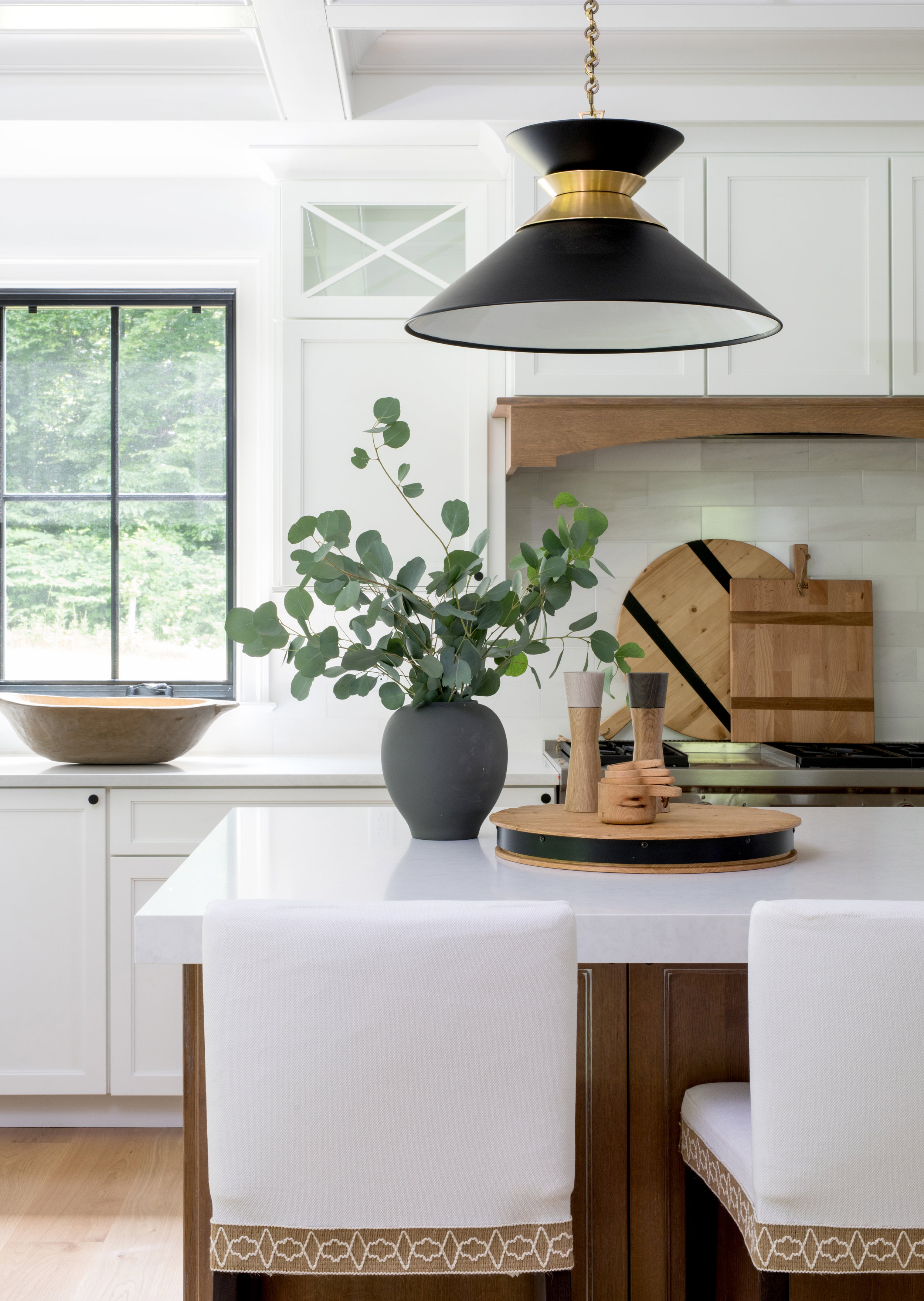 Kitchen Natural Wood Island White Cabinets Black Hardware Black Pendant Lights Modern Farmhouse Kitchen Black Windows Coffered Ceilings Stephanie Kraus Designs