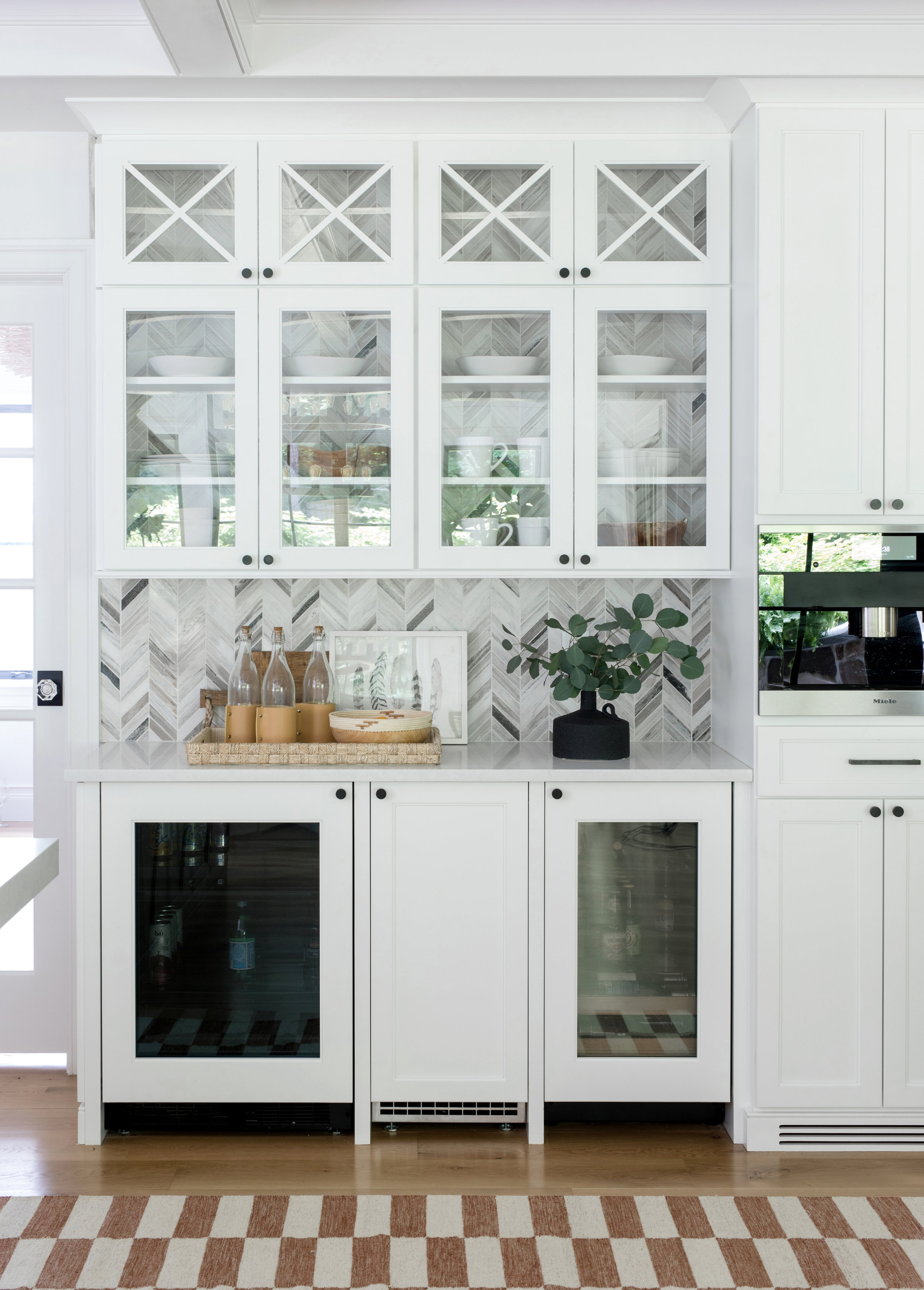 Kitchen Bar Area Glass Cabinets Coffee Station Herringbone Marble Backsplash Stephanie Kraus Designs