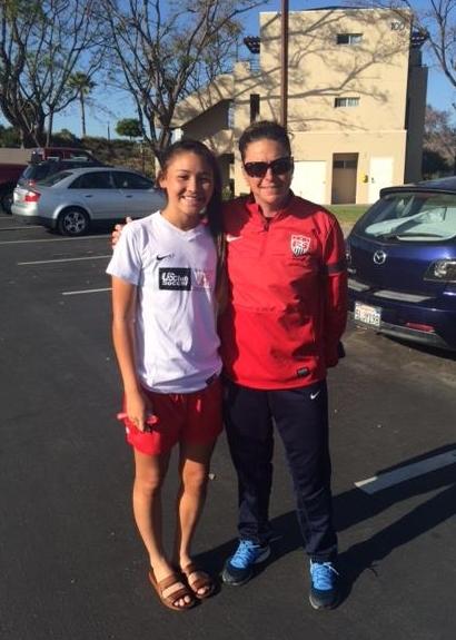 Kylie Minamishin & Coach Tricia Taliaferro | PHOTO BY: US Club Soccer