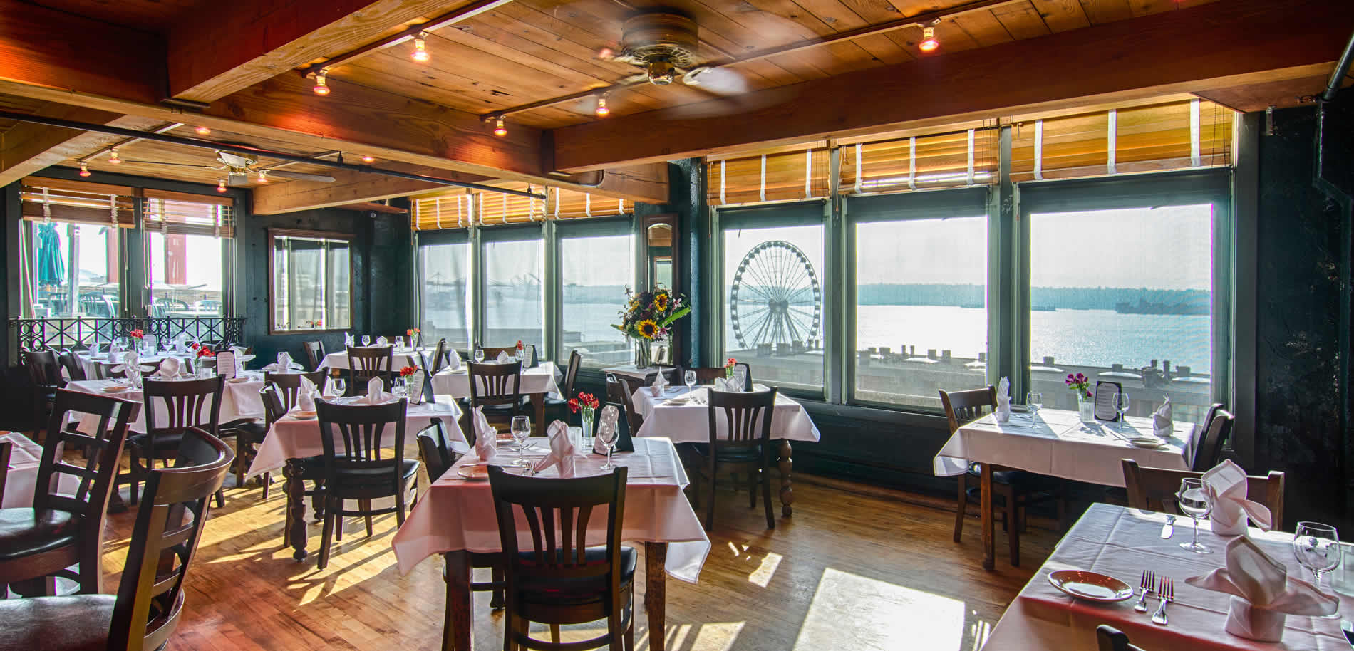 Dining room with a romantic view of Seattle