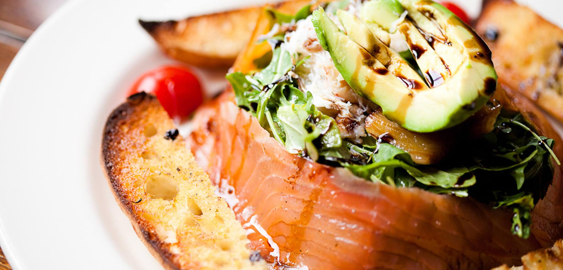 Salad and smoked salmon.