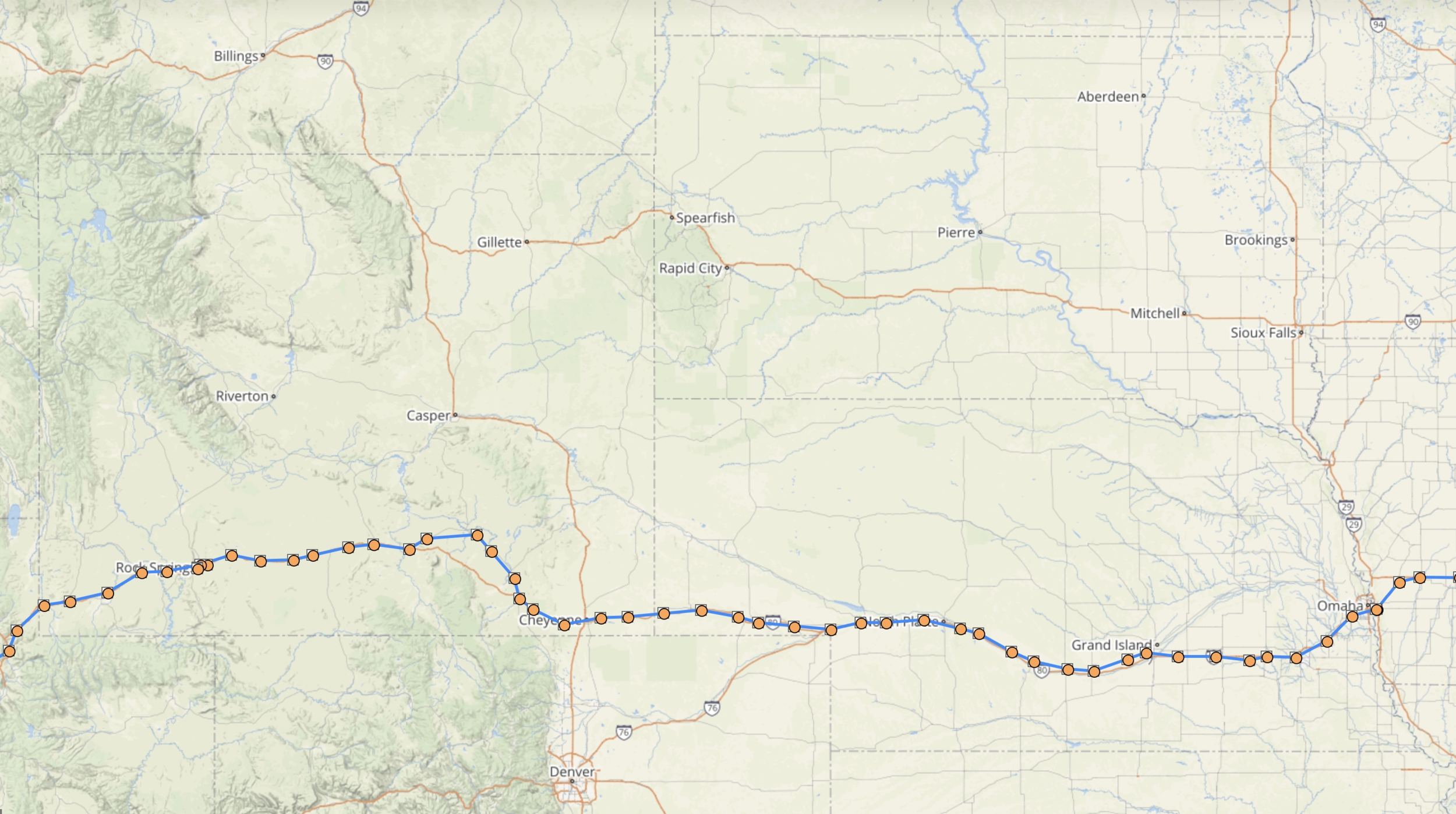 Spotwalla track  of the day's 758-mile ride across Wyoming, Nebraska, and into Iowa.