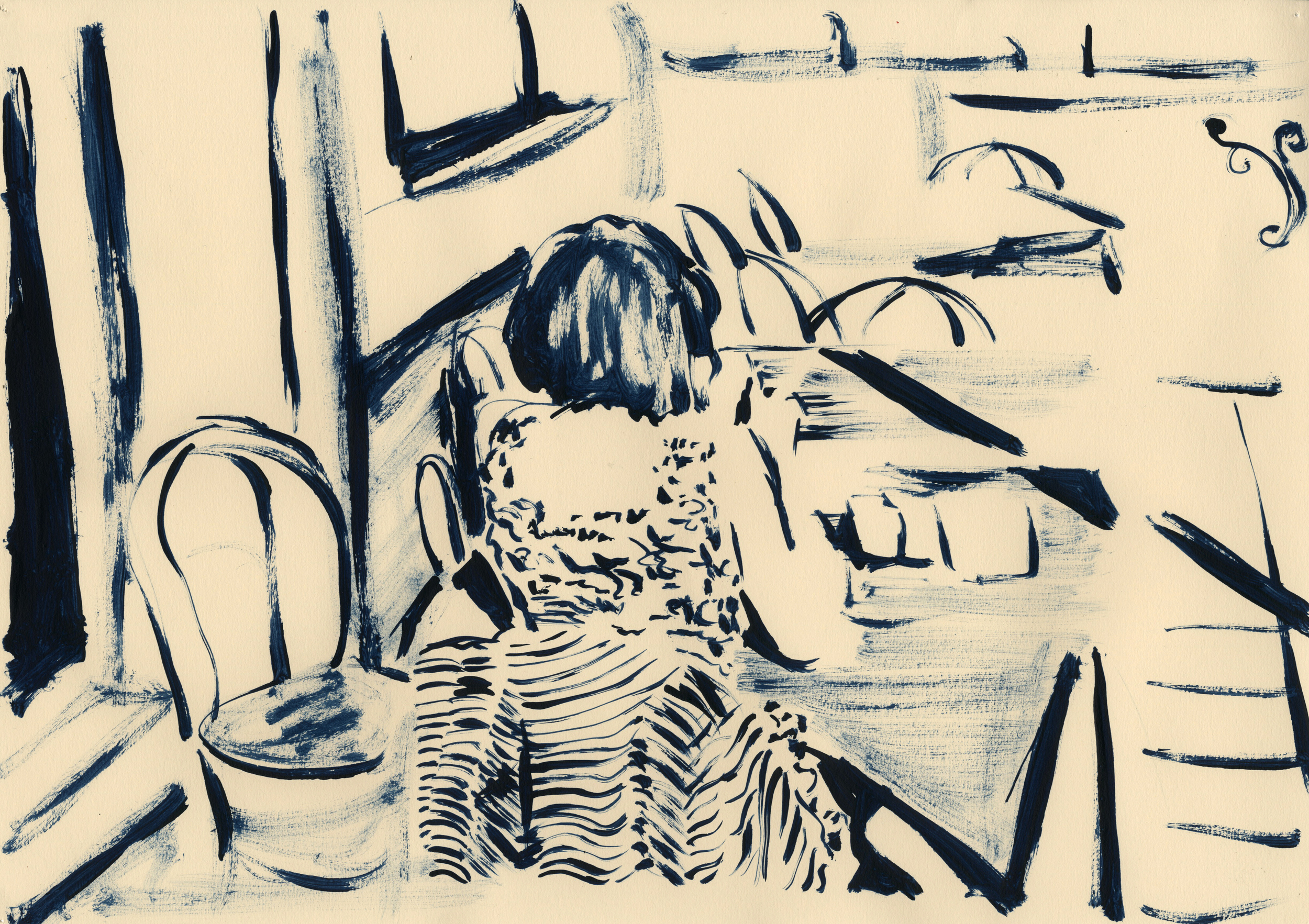 'Breakfast with Stefanie', 2012, ink on off-white cartridge paper, 29.5 x 42 cm
