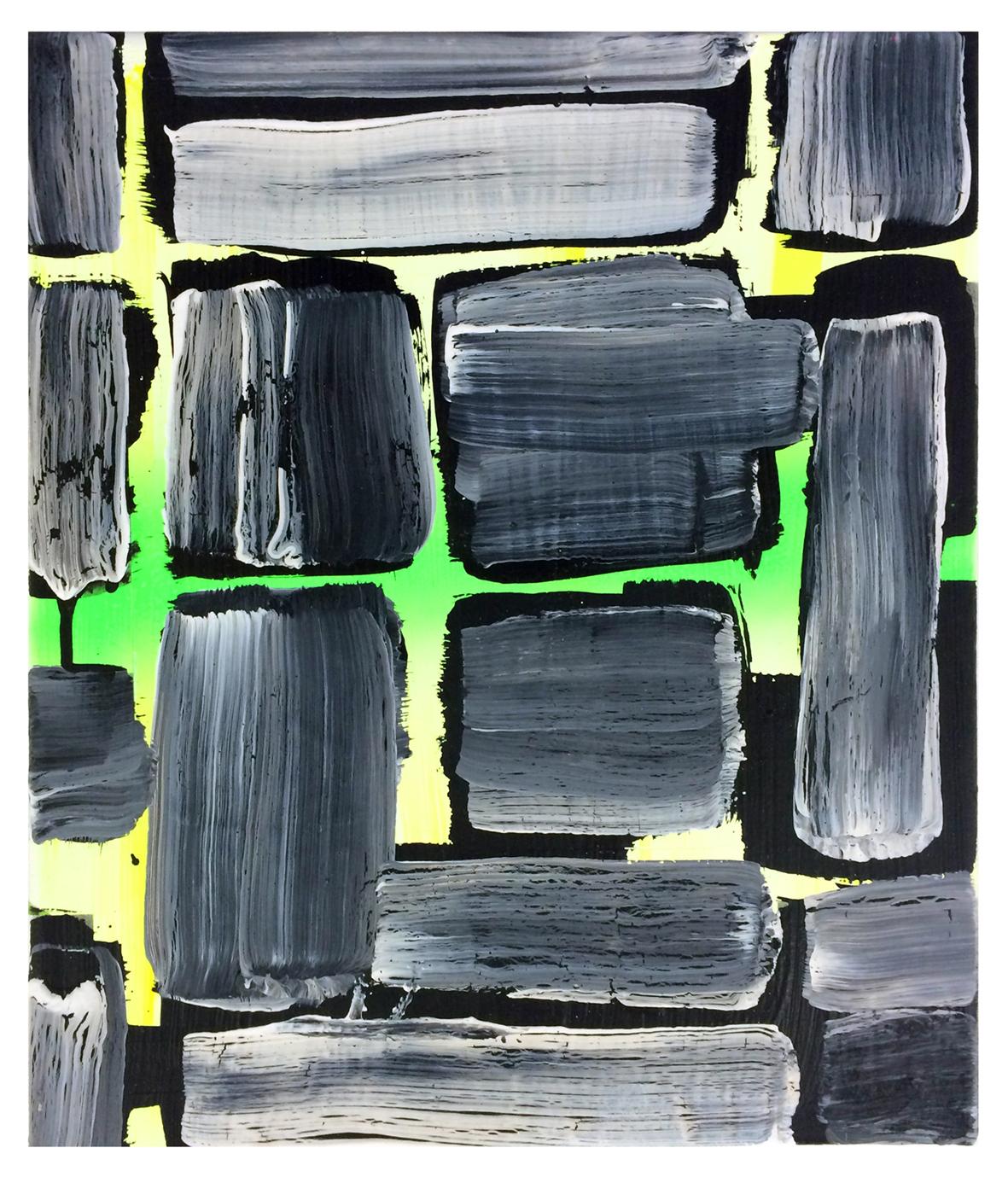 'Untitled', 2014, acrylic and spray paint on canvas, 20 x 25 cm