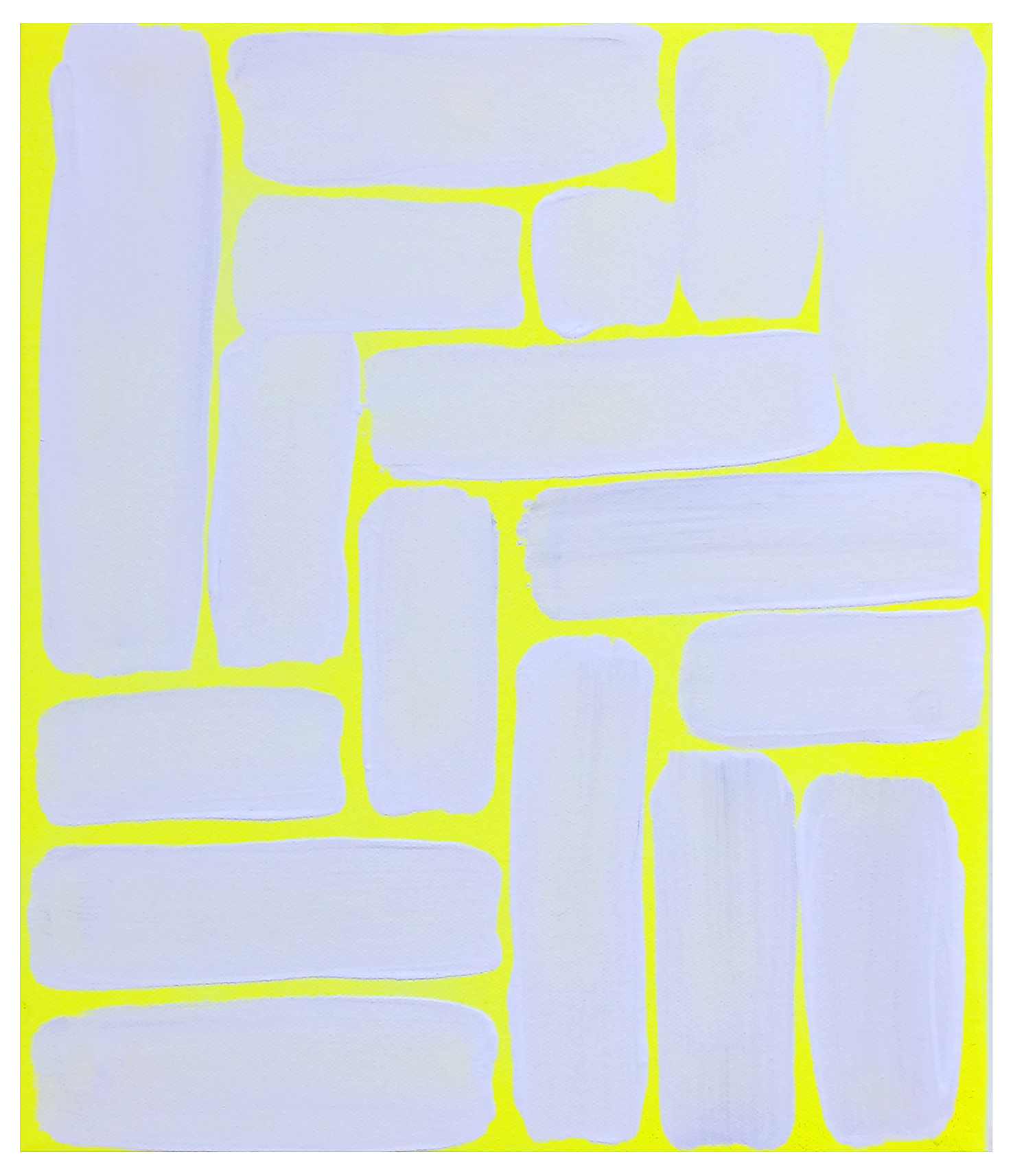 'Untitled', 2014, gesso and spray paint on canvas, 20 x 25 cm