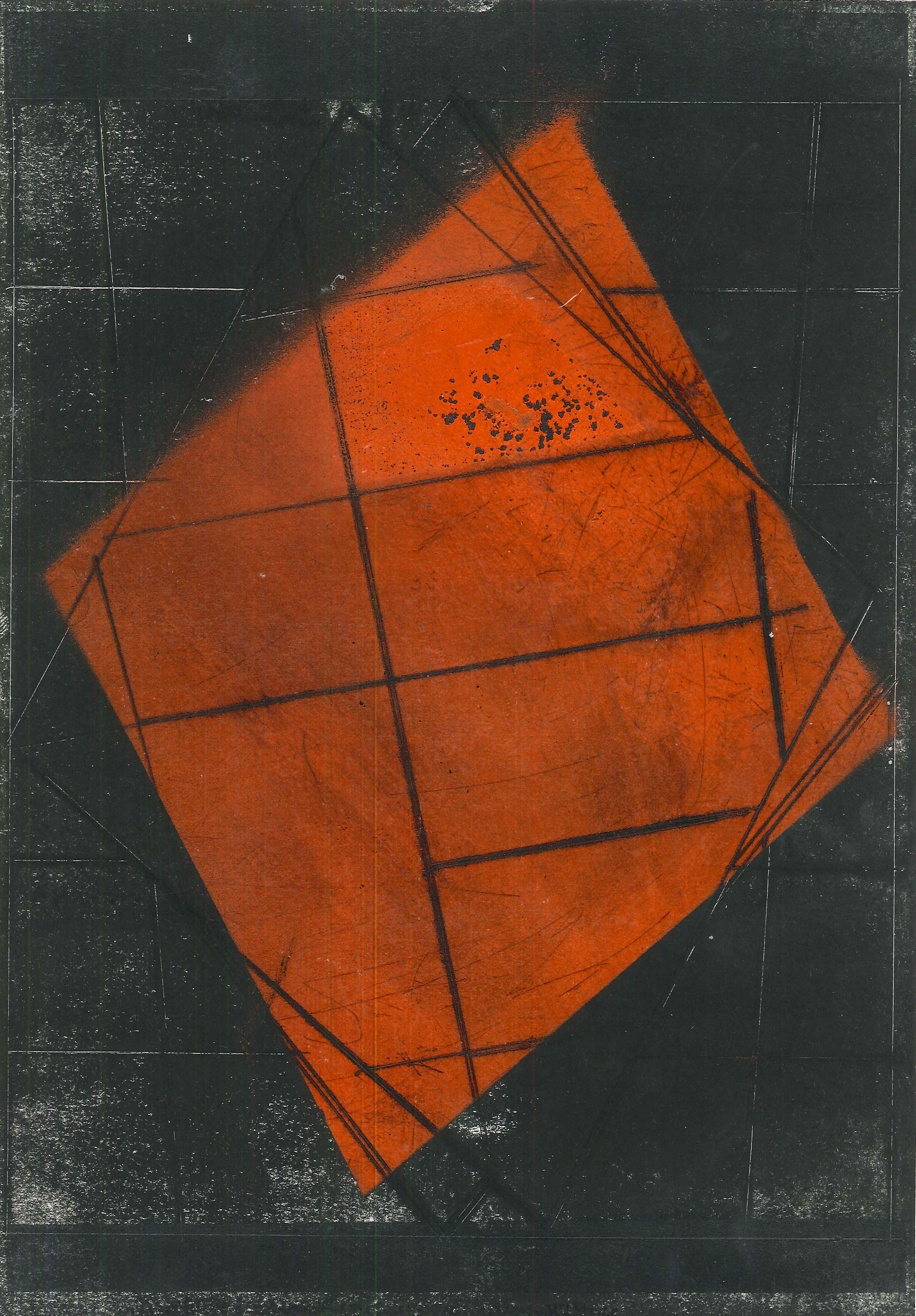 'Untitled', 2015, etching and spray paint on cartridge paper, 29.5 x 21 cm