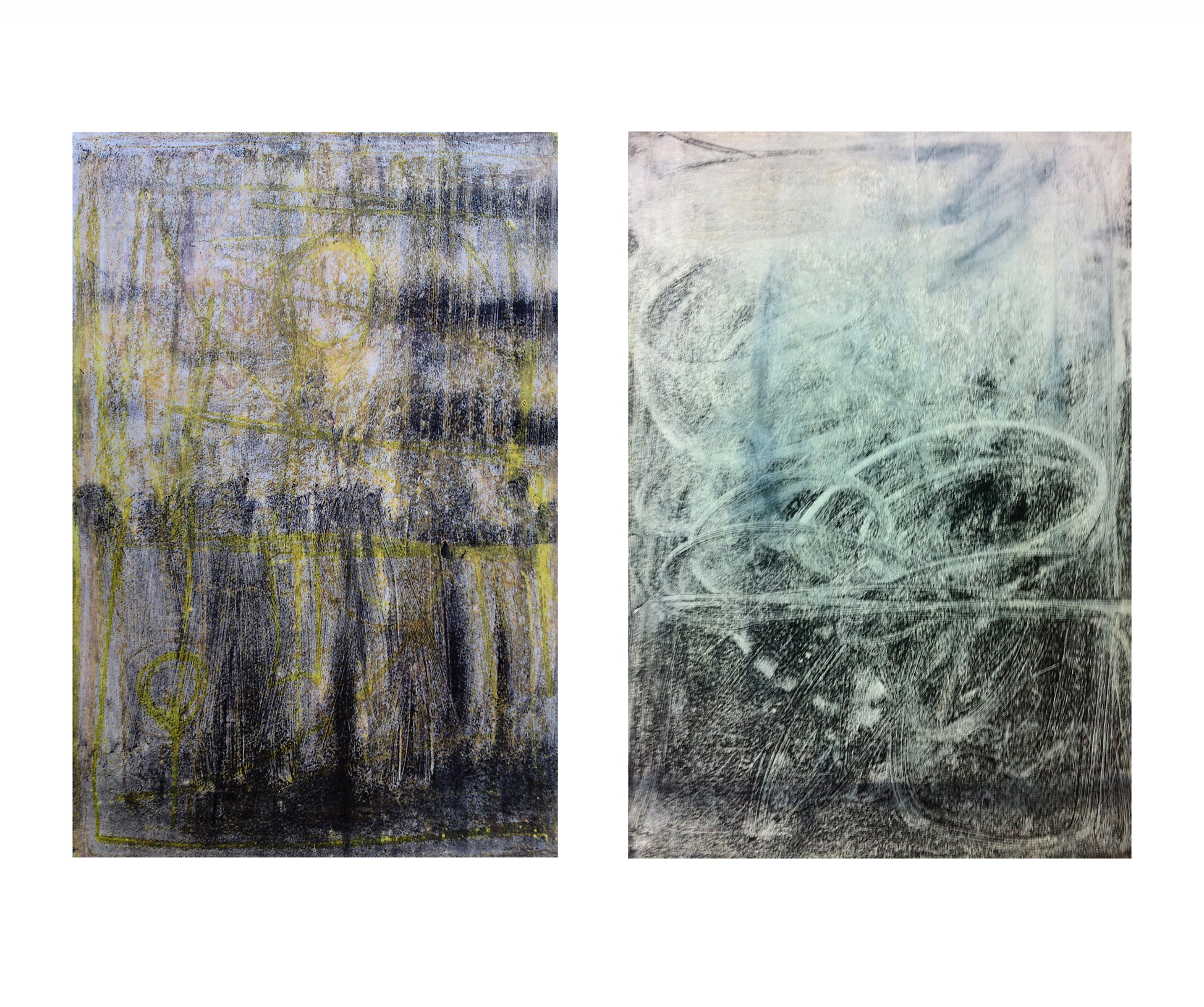 'A and B from Panel X Series', 2009, ink, spray paint and oil pastel monoprint on paper, 40 x 50 cm each