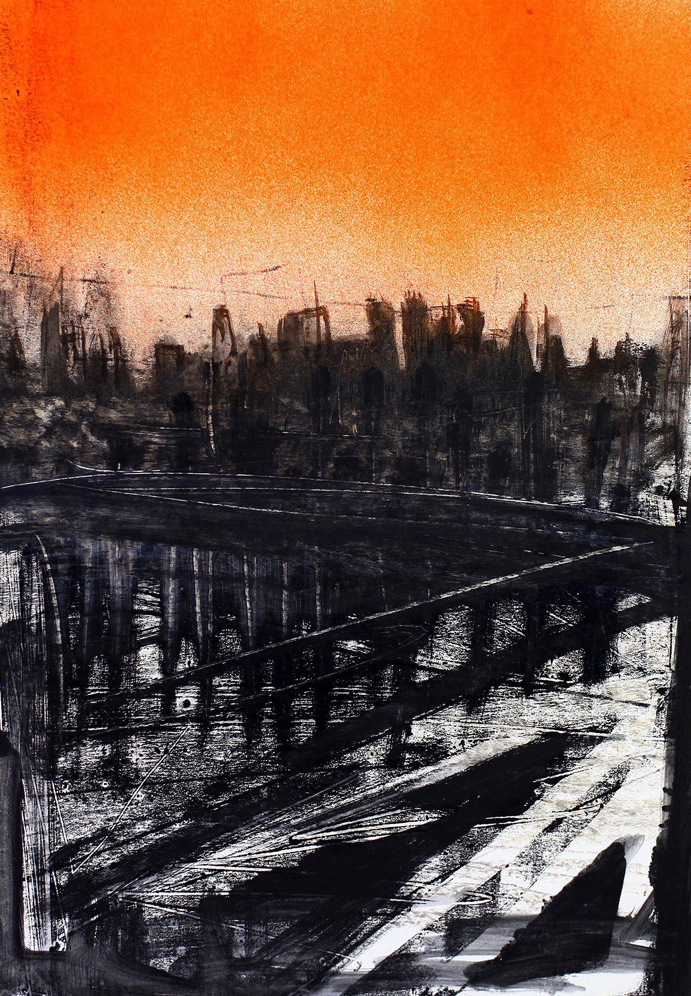 'From the Eastside', 2009, spray paint and monoprint on paper, 40 x 50 cm