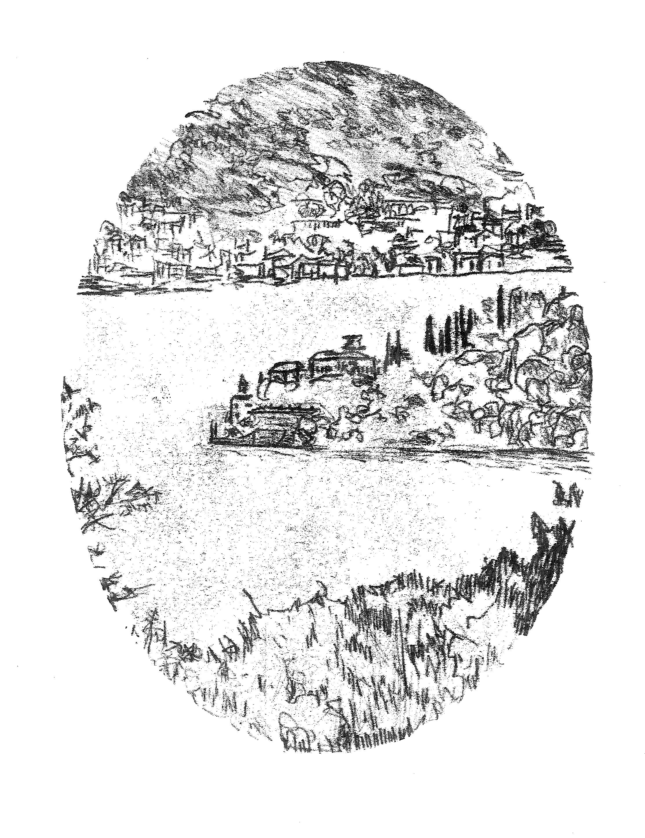 'Villa Balbianello, Lago di Como', 2015, monoprint on 183gsm cartridge paper, 21 x 29.5 cm
