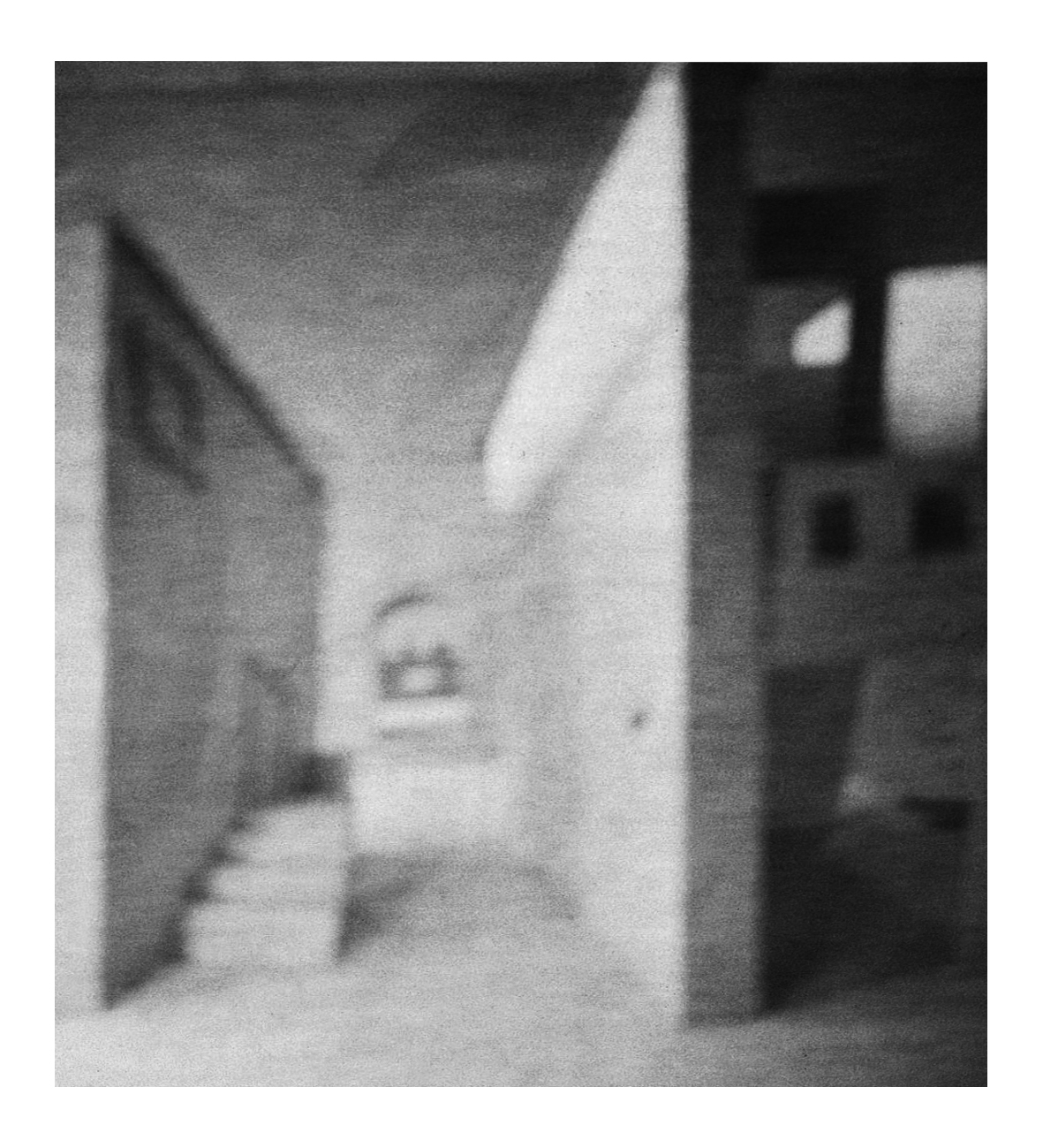 'After Crivelli', 2012/14, pinhole photograph of a cardboard model printed on off-white cartridge paper, 29.5 x 45 cm
