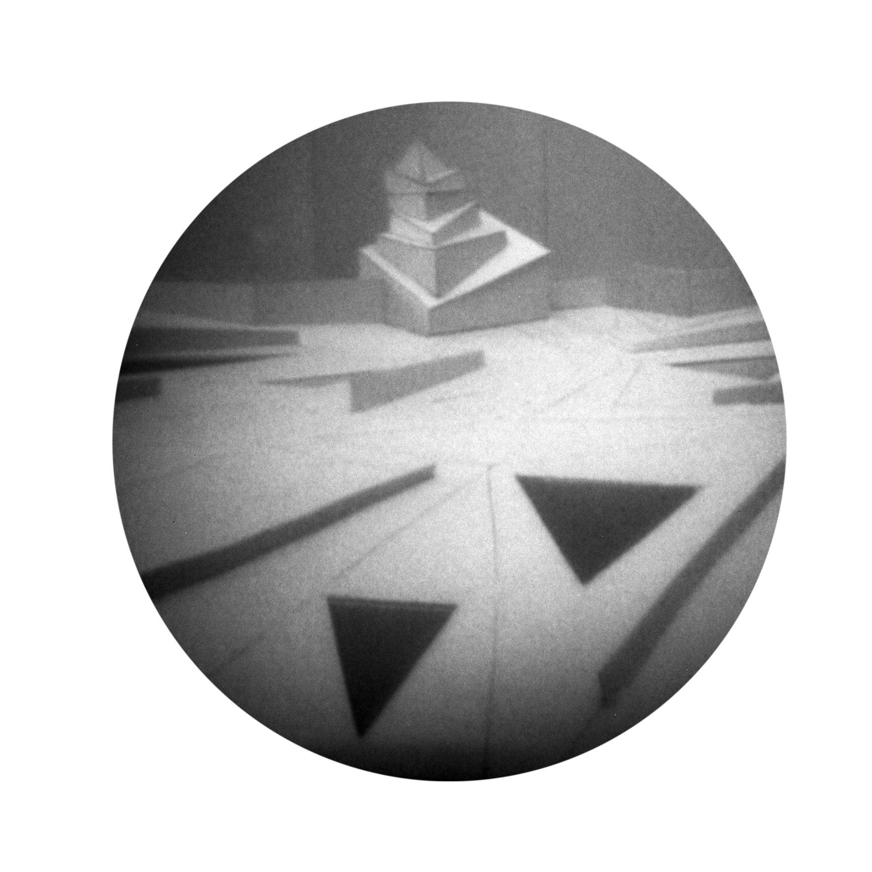 'A Modernist Dream', 2012/14, pinhole photograph of a cardboard model printed on off-white cartridge paper, 29.5 x 45 cm