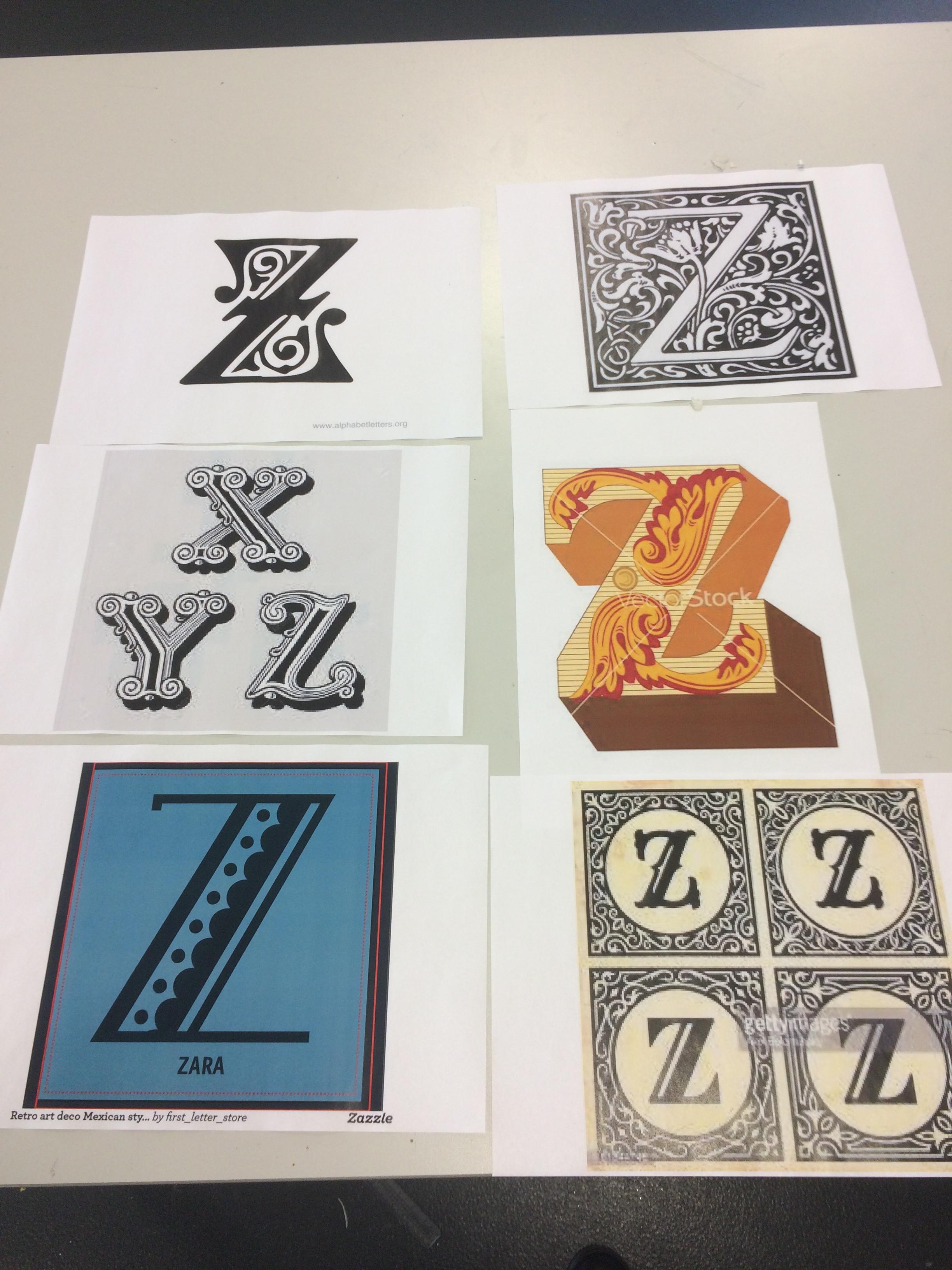Preparatory designs for Alphabet monoprint series