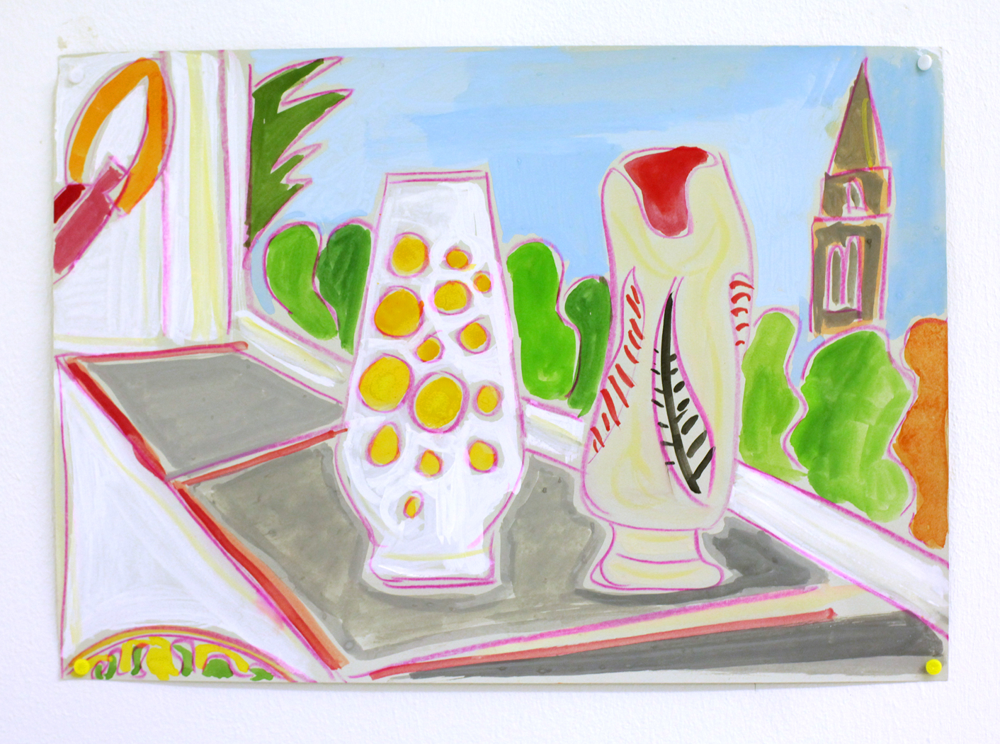 '2 Vases (one from Frinton-on-Sea) and St Mary's church', 2015, watercolour and pencil on paper, 21 x 29.5 cm