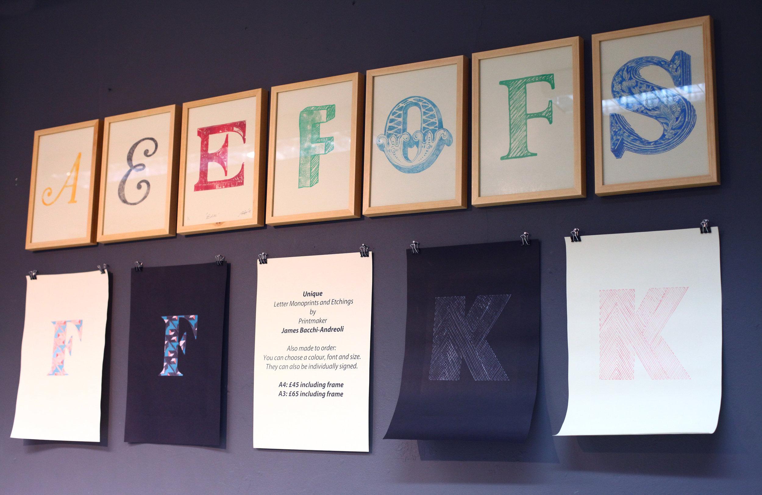 Mono prints and hand-colour etchings: Installation shot at Kite Studios Art Fair