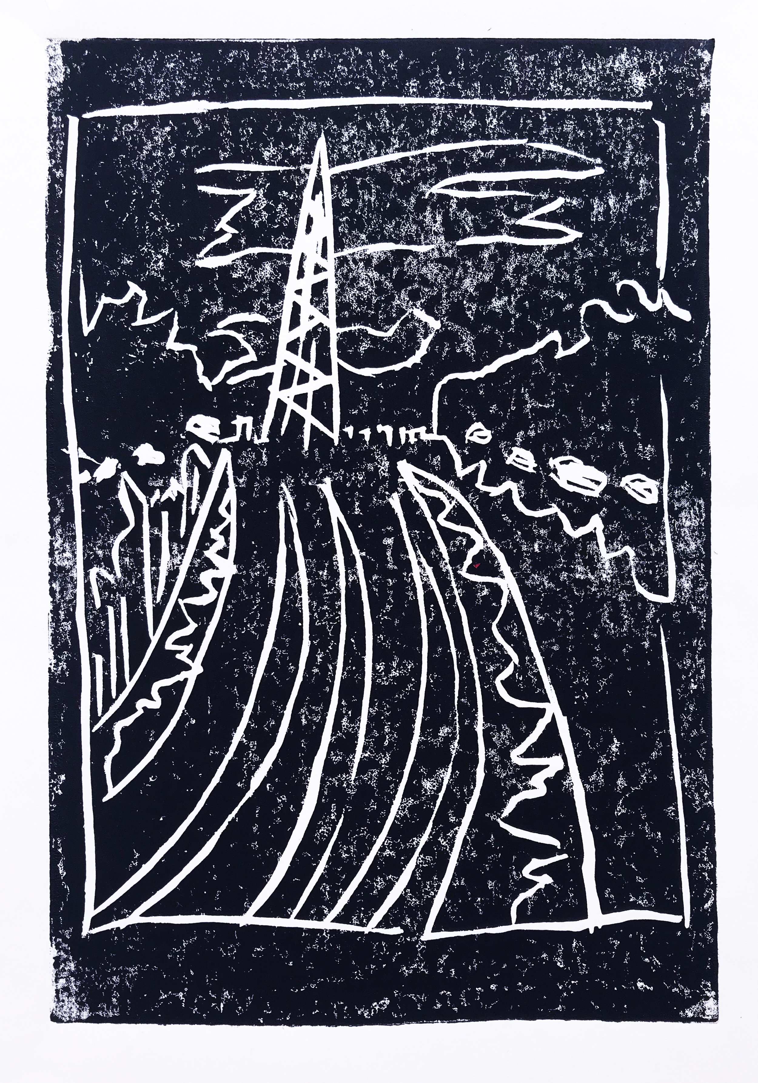 The Mast, 2019, linoprint on paper, 20 x 15 cm