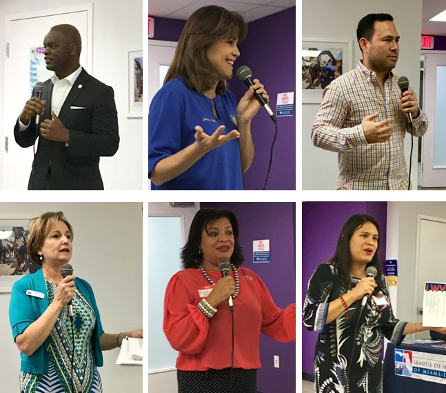 Speakers at the LWVMD 2018 Legislative Briefing included Florida lawmakers (top row) Representative Kionne McGhee - Chair, of Miami-Dade Delegation; Senator Annette Taddeo; and Representative Nick Duran; and (bottom row) LWVMD board members Letty Pelaez, Marisol Zenteno, and Lucia Baez.