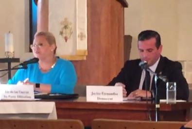 Florida House District 114 Special Election candidates Liz de las Cuevas (No Party Affiliation) and Javier Fernandez (Democrat) talked with area voters on April 17.