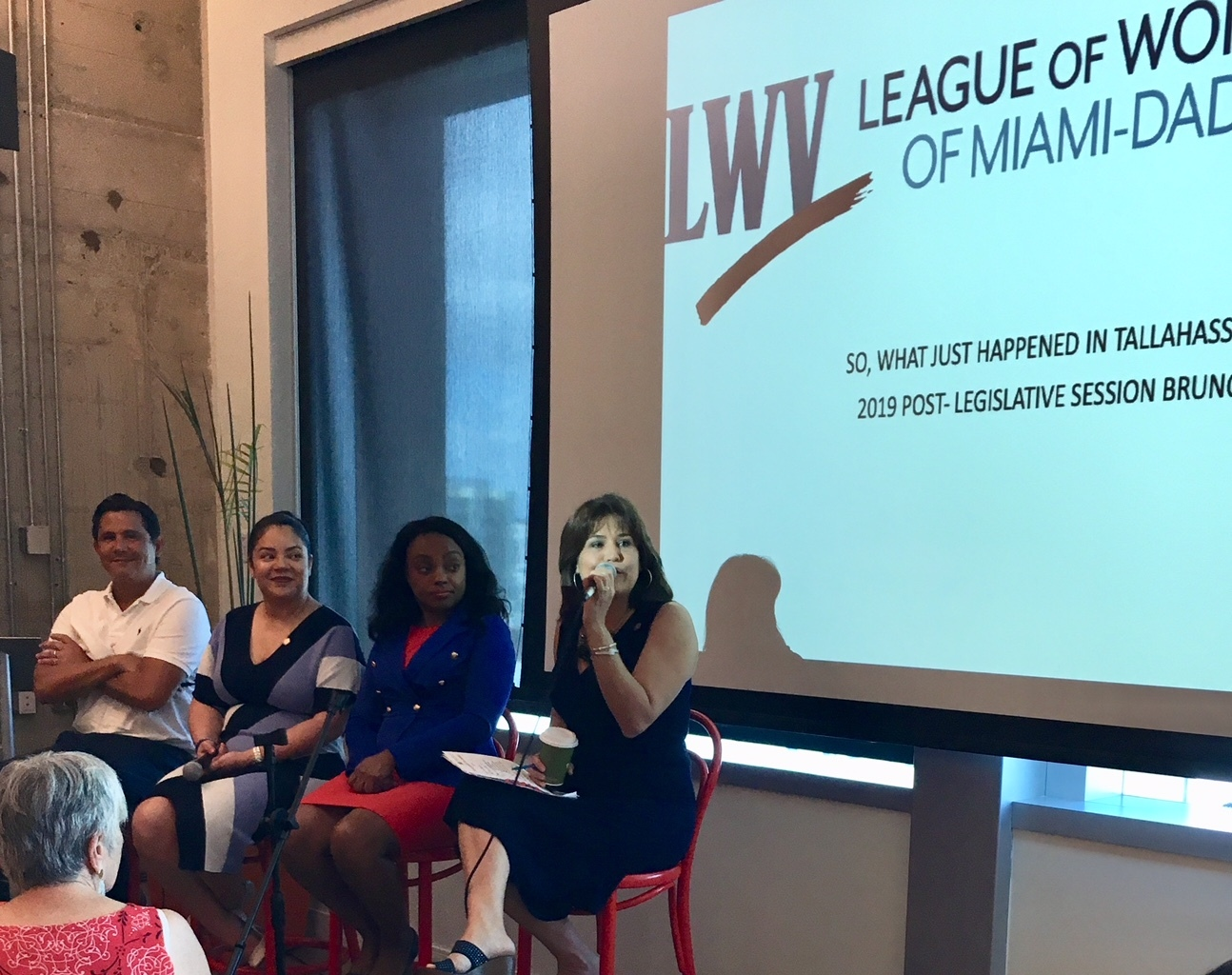 Senator Jason Pizzo, Representative Cindy Polo, Representative Dotie Joseph, and Senator Annette Taddeo spoke at LWVMD's 2019 Legislative Debrief.