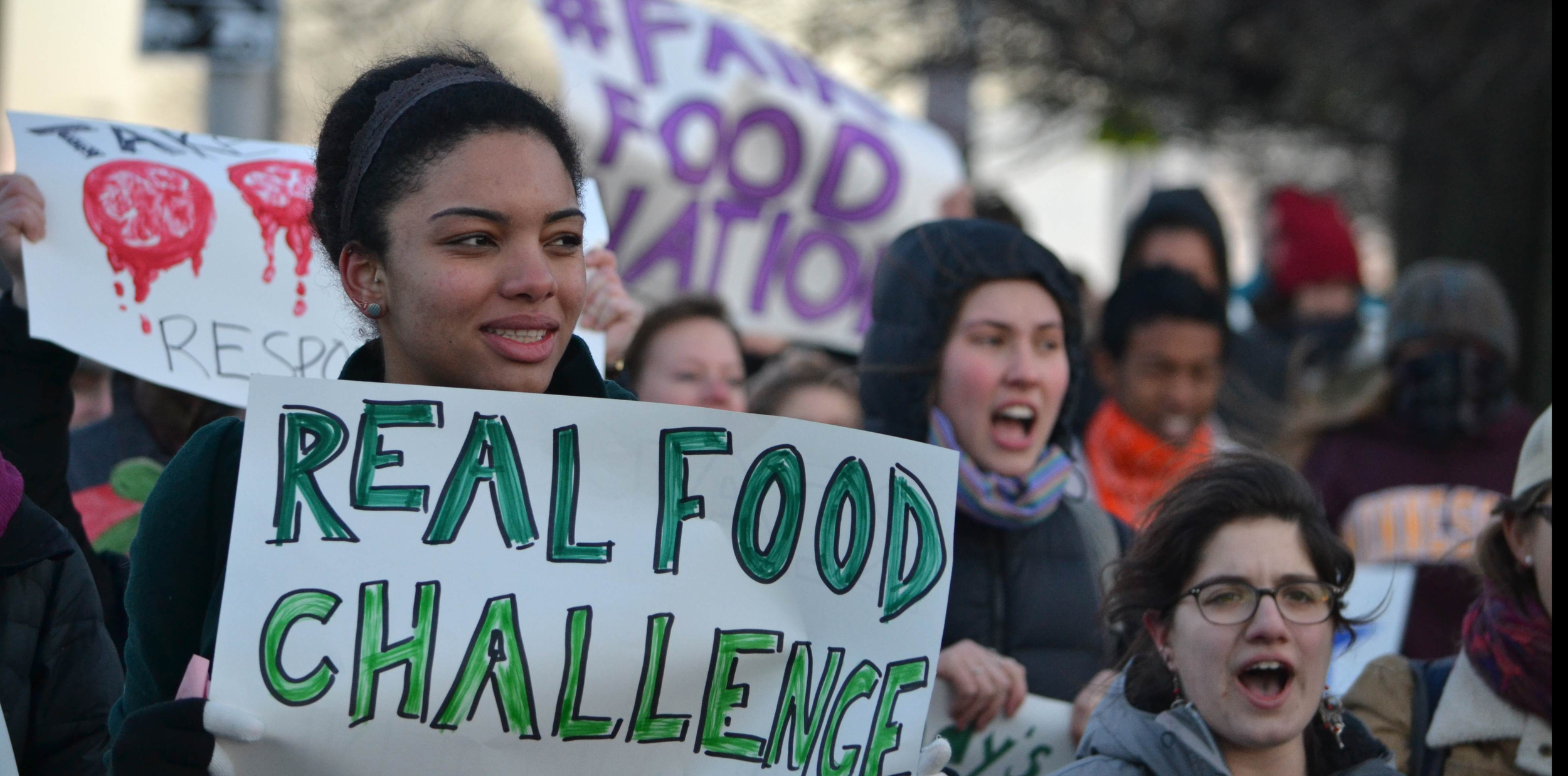 Students march for real food and fair food in solidarity with the Coalition of Immokalee Workers, at the 2013 National RFC Summit in Baltimore, MD.  Source: Real Food Challenge.