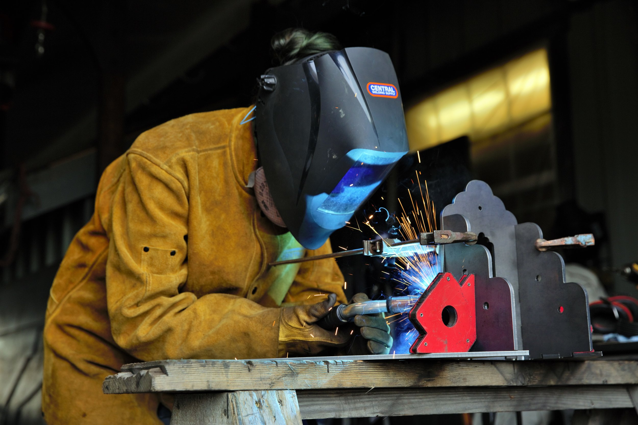 Salish Metalworks Timber Truss Welding Leah Altman