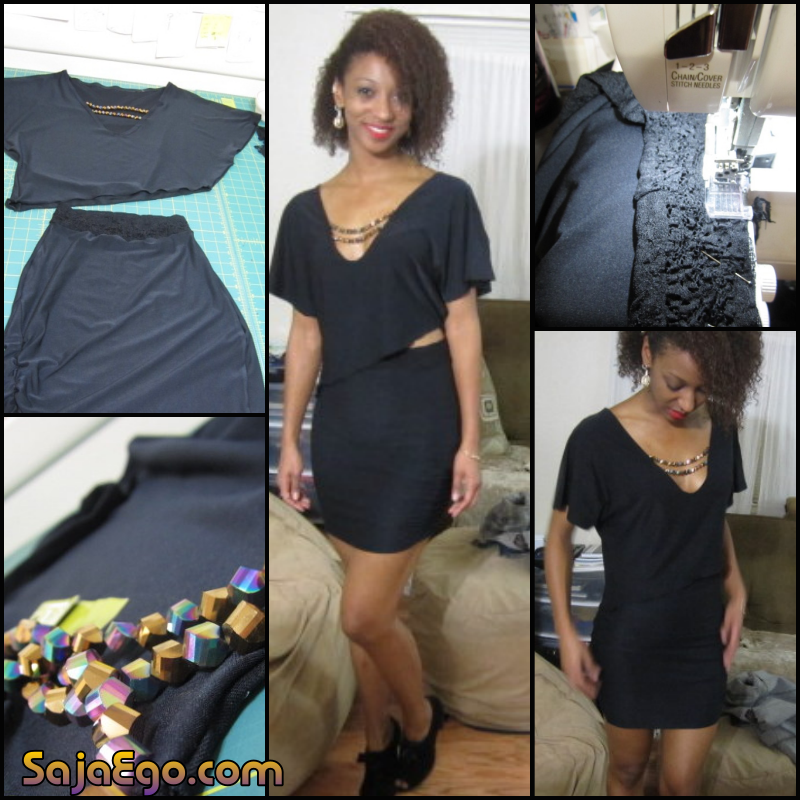 Quick Little Black Dress Two Piece for New Years Eve - SajaEgo.com