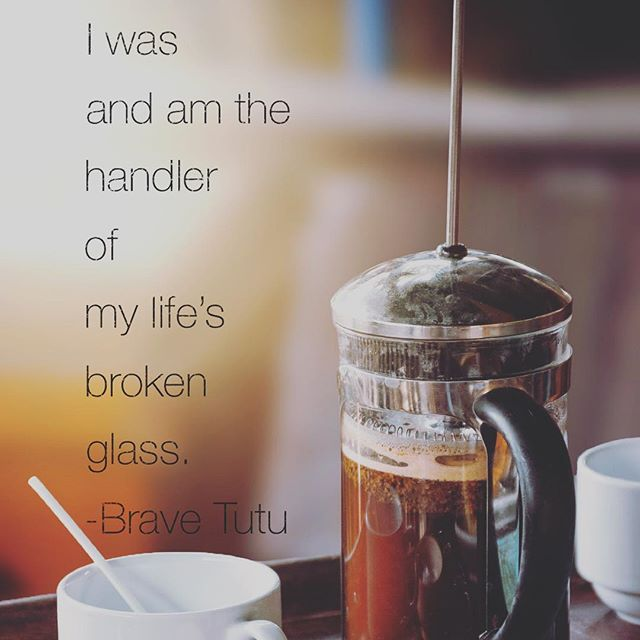 """All but the shattered glass was a blur. My morning's promise of journaling and cozy coffee was replaced with a dangerous mess—a sharp awakening...My elbow dinged the French press as I grabbed my vitamins. No matter how careful, these fragile coffee makers eventually break. Don't they?...I remembered my parents in #broken glass situations, their diligence to keep us safe. """"We don't want your little feet anywhere near this until it's cleaned up."""" As kids you are vanquished to the next room...I handled that morning's mishap and experienced a mixed moment of remembering and realization. I mirrored my parents' tactic of taking a wet paper towel and combing the area...They would say, """"We have to protect your little tootsies."""" I replicated their diligence...Later, in reflection, I teared up a little...feeling a bit helpless from the days before...where our Dad was back in the ICU...Not knowing if he will become """"responsive"""" is a fear that doesn't subside. Sweet friends ask, """"Is your Dad better?"""" """"Is he going to be okay?""""...I simply share, he is out now. He is feeling a lot better. I find myself confiding less and less in friends about these struggles. Not having answers feels like burden I shouldn't share. He can be """"better""""...for a time. But life's #fragile shards of his #chronic #pain and illness will catch an elbow and everything will stop again. It doesn't seem to matter how many times my siblings and I are down on knees with wet paper towels trying to make sure he doesn't have to worry about the unfortunate glass he was dealt...We only know the calls will come...And we have to be okay with knowing #glass is still out there...the fragile will break again. That mix of unsettled relief has me scour for remnants...I discover deeper cuts than I realized. More bundled in the pain of """"not knowing."""" When I'm #brave, I confide a harsh realization that, as a #single person, I was and am the handler of my life's broken glass.And it's okay to sit with that and not """"make it all be"""