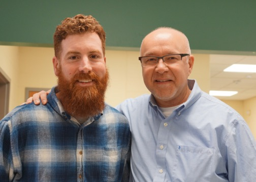 "Mike Gates Facilities Leader and Mark showing off the ""beard"" and the ""bald""."