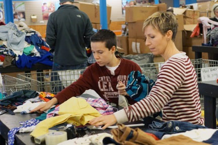 Sorting and packing as a church family at World Vision Pittsburgh