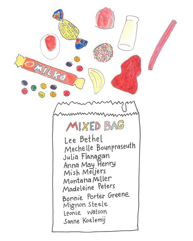 "Hope you've got a sweet tooth... Up next ""Mixed Bag"", coming 1st Aug. A massive group exhibition featuring @leebethel @mechelleb_  @juliamflanagan @annamayhenry @mishmeijerz @by_montana @madeleine__peters @bonnie.greene @mignon_steele #leoniewatson and @sanne_koelemij_art  Opening night Friday 3rd Aug 6-8pm Design by @bonnie.greene"