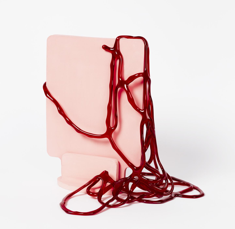 Slab Series; Red on Pink