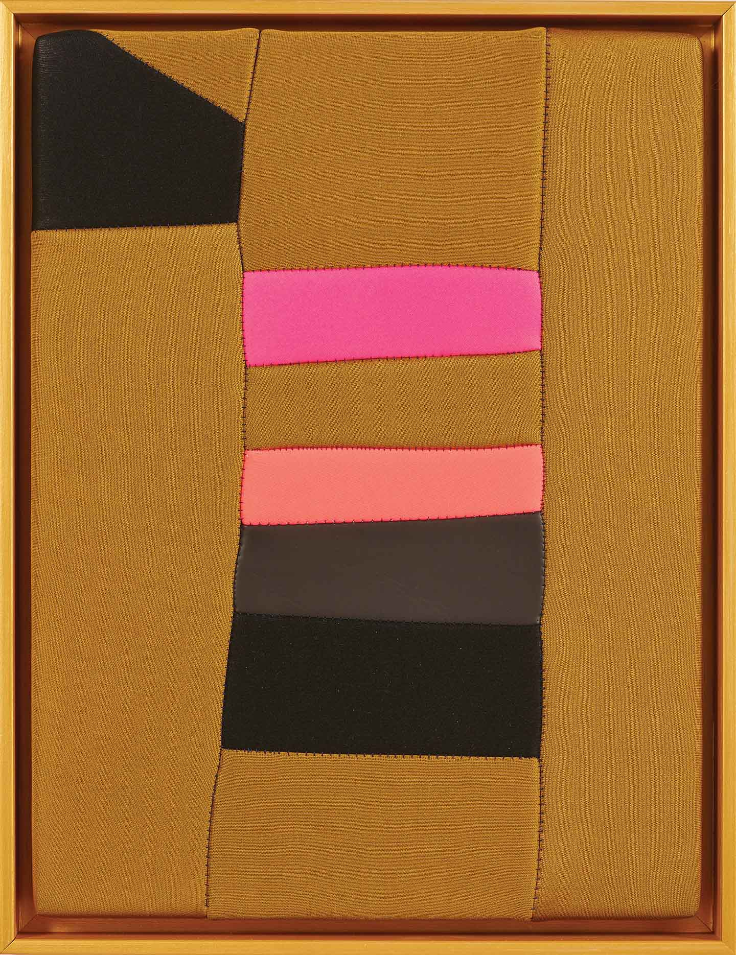 Zee  2019, stretched found neoprene with metallic painted timber frame, 44 x 34 cm  SOLD