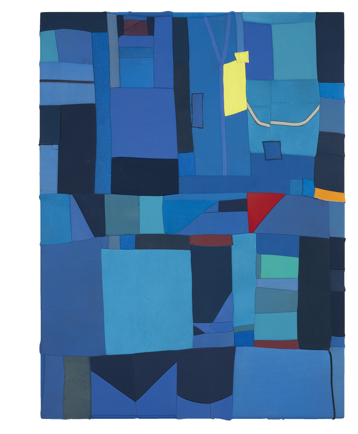The Art of The Ride (Big Blue)  2019, stretched found neoprene, 142 x 106 cm  SOLD
