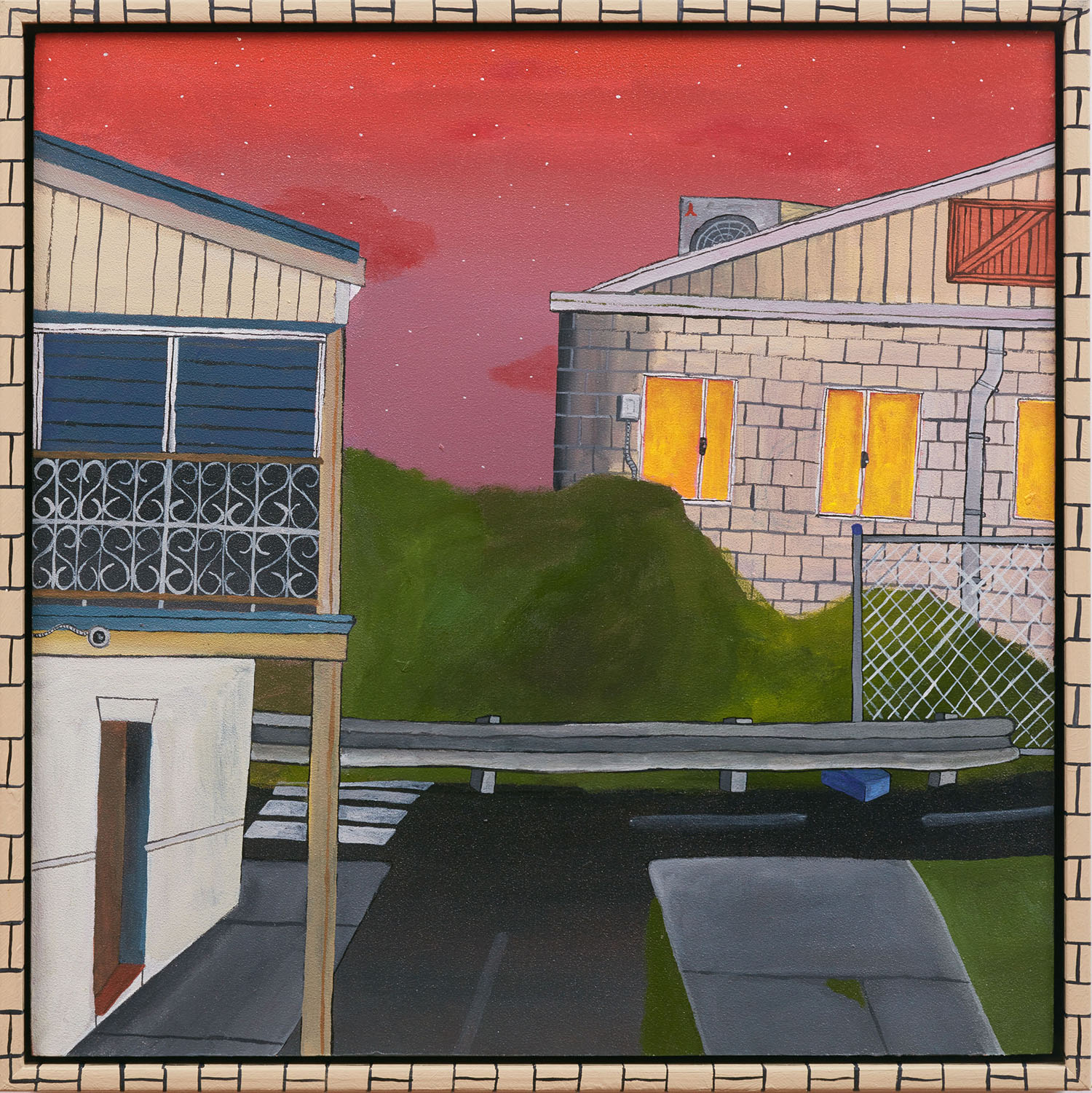 A Quiet Street Inspired by the Ryan's Hotel  2019, acrylic on board with hand painted timber frame, 32 x 32 cm  SOLD