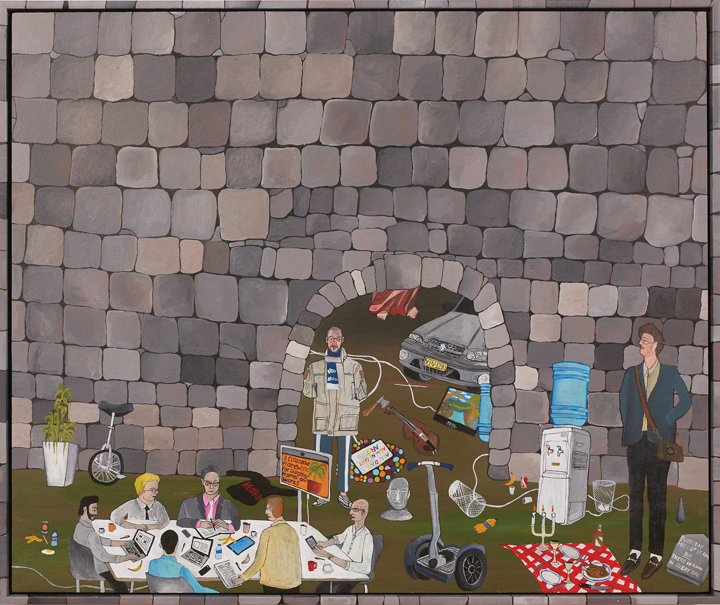 Board Meeting Outside the Castle on Your Hobby Farm  2019, acrylic on board with hand painted timber frame, 52 x 62 cm  SOLD
