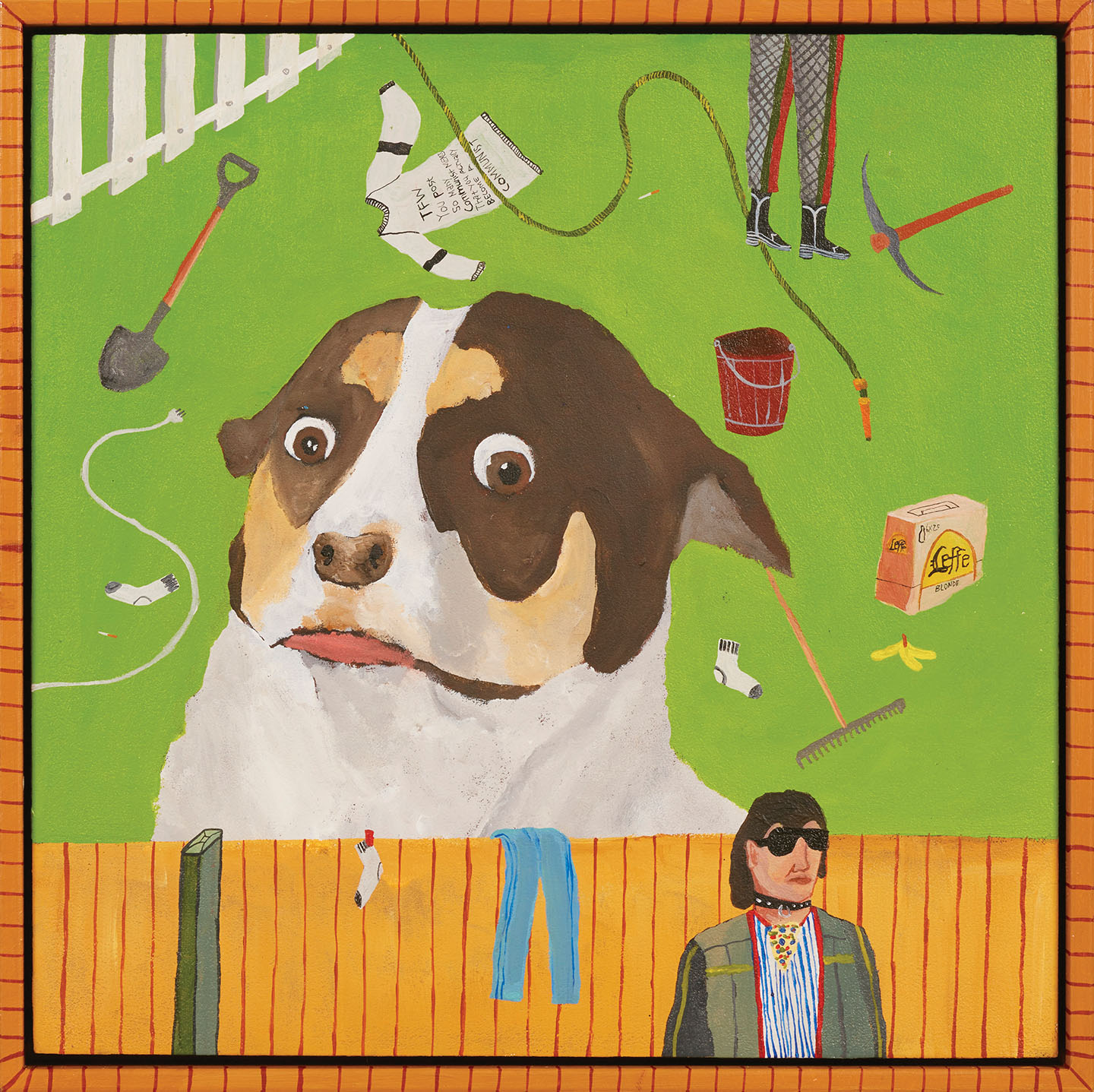 Mr Bubz  2019, acrylic on board with hand painted timber frame, 32 x 32 cm  SOLD