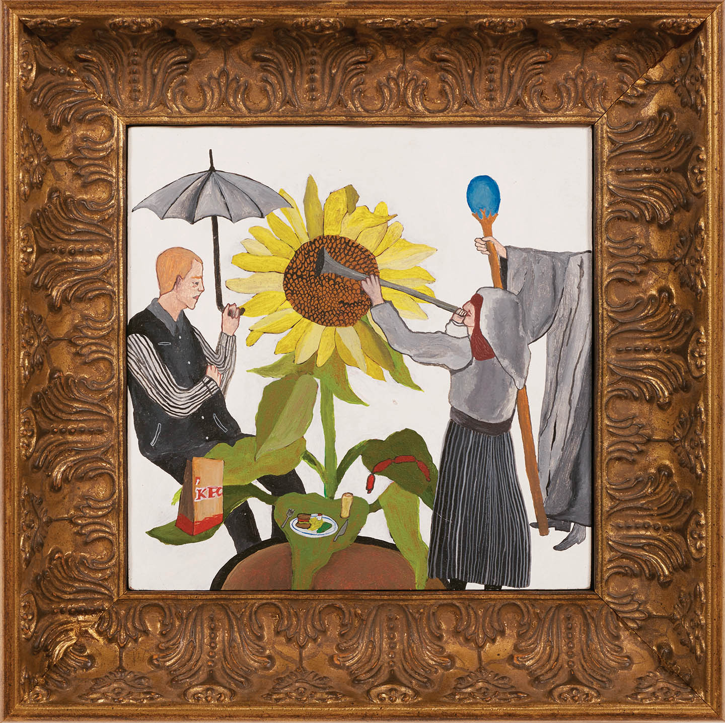 Pat with a Sunflower  2019, acrylic on board with hand painted timber frame, 31.5 x 31.5 cm  SOLD