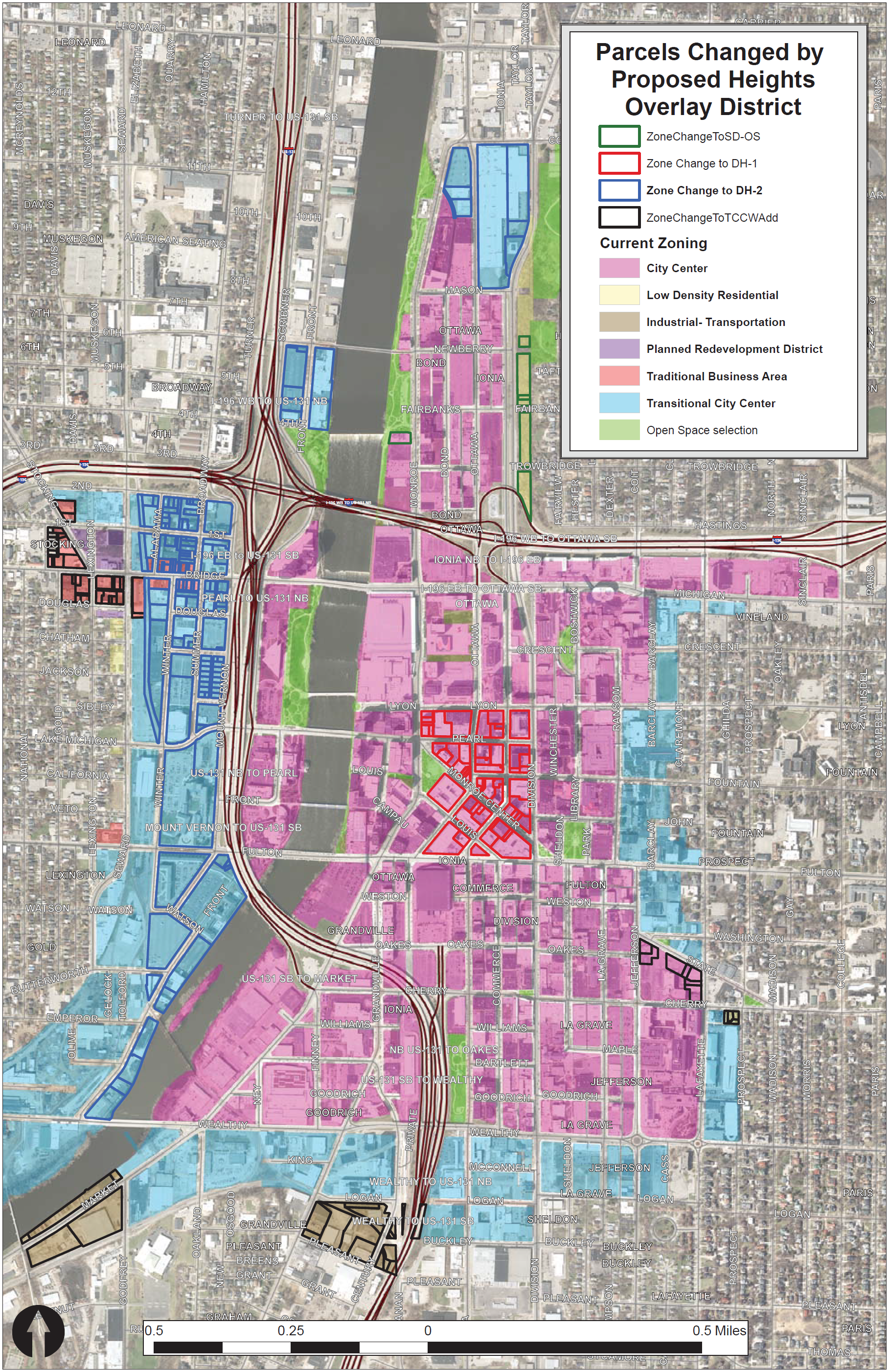 Map of proposed zoning changes. Click on the image to make it larger.