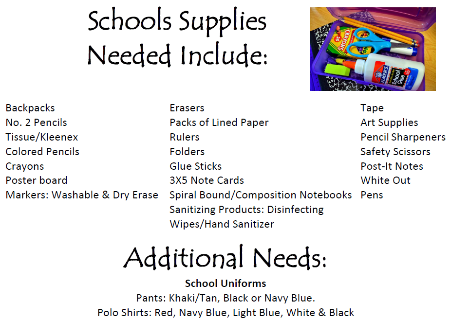 Even though the drive is over, keep in mind schools can use your help all year round! Consider donating during the school year!