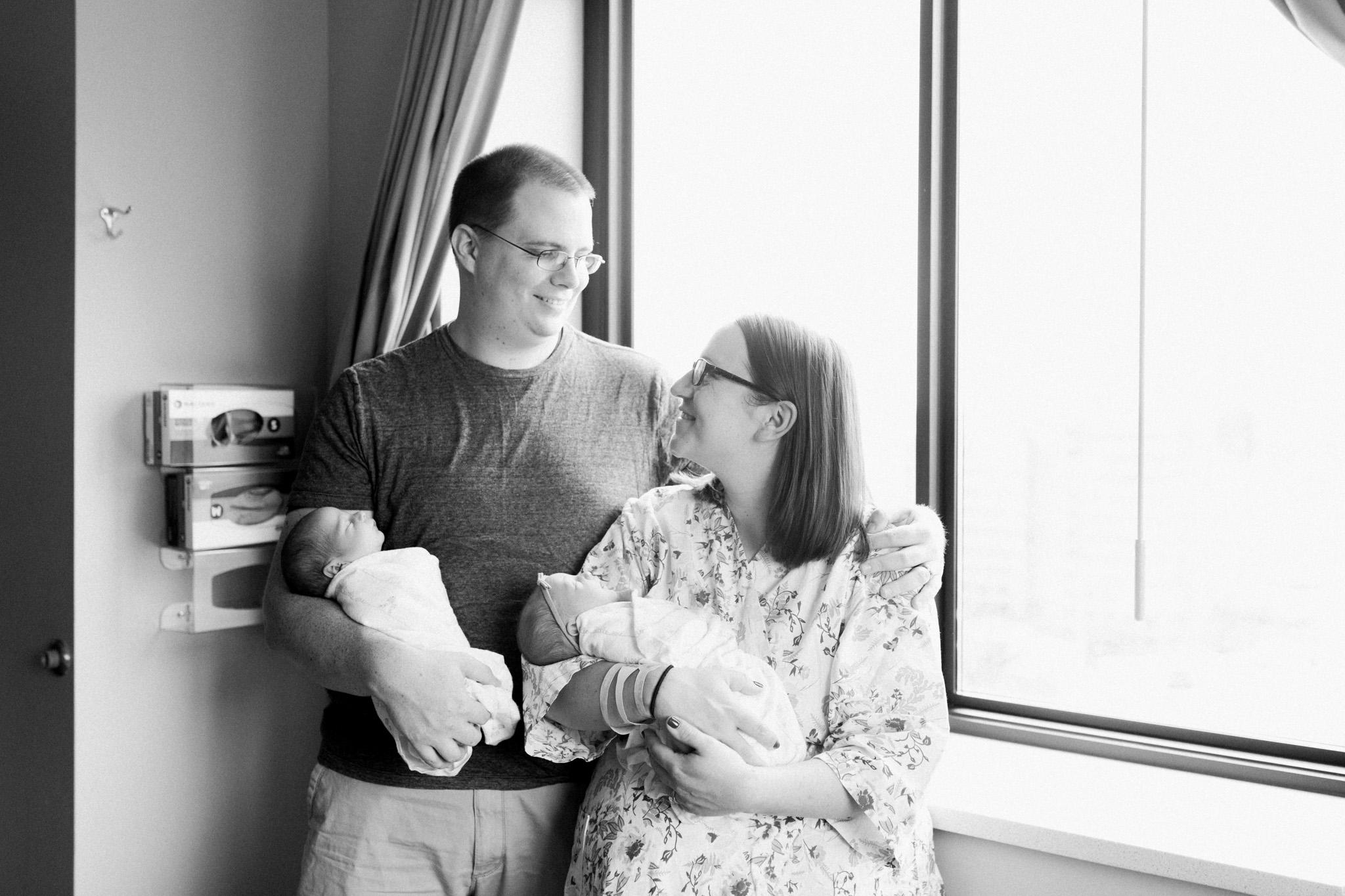 Newborn twins Fresh 48 Session in Hospital   Laurenda Marie Photography   Grand Rapids Michigan