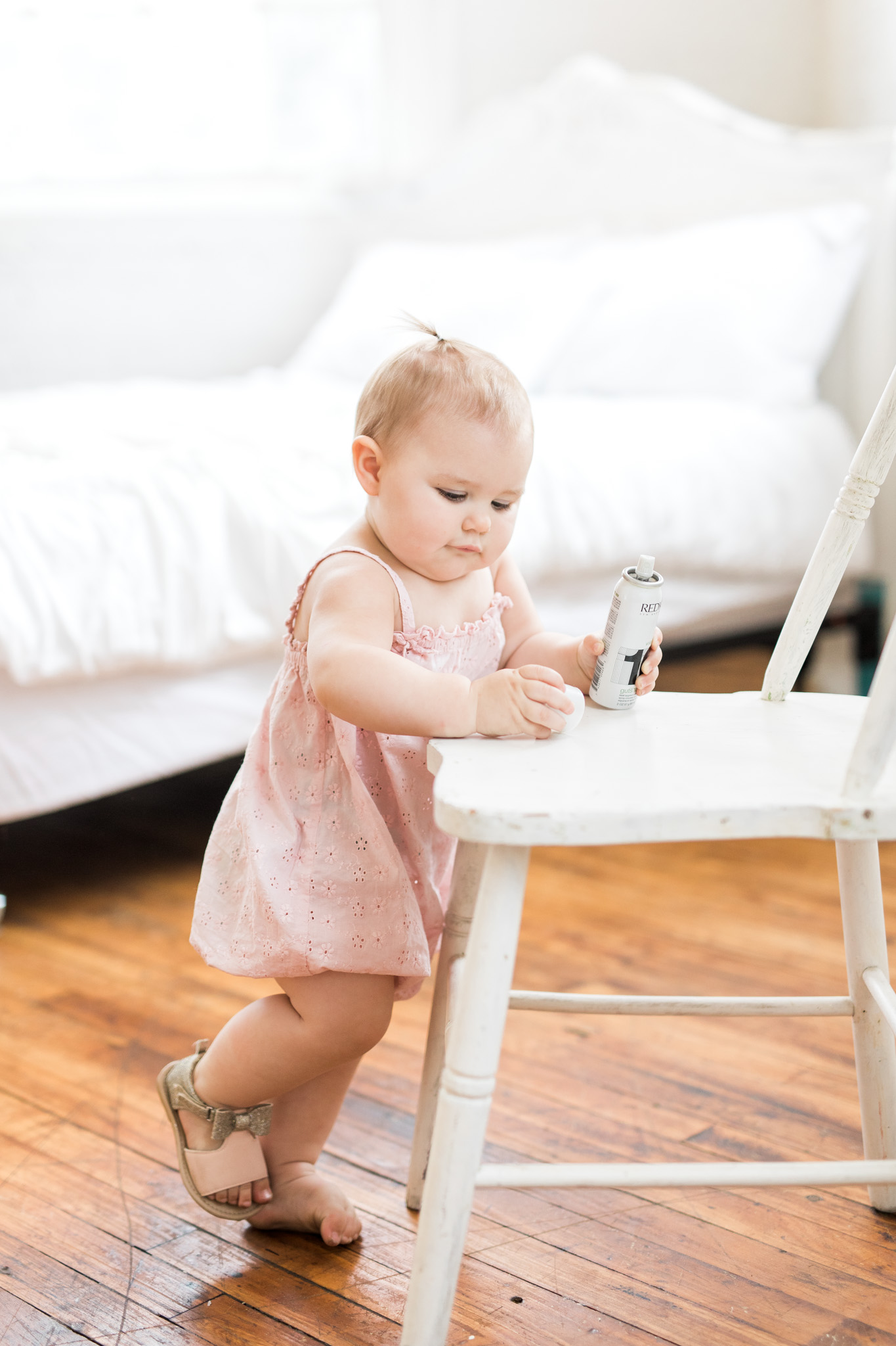 Natural Light Studio Session | One Year Old Baby Girl In Studio | All White Studio | Laurenda Marie Photography