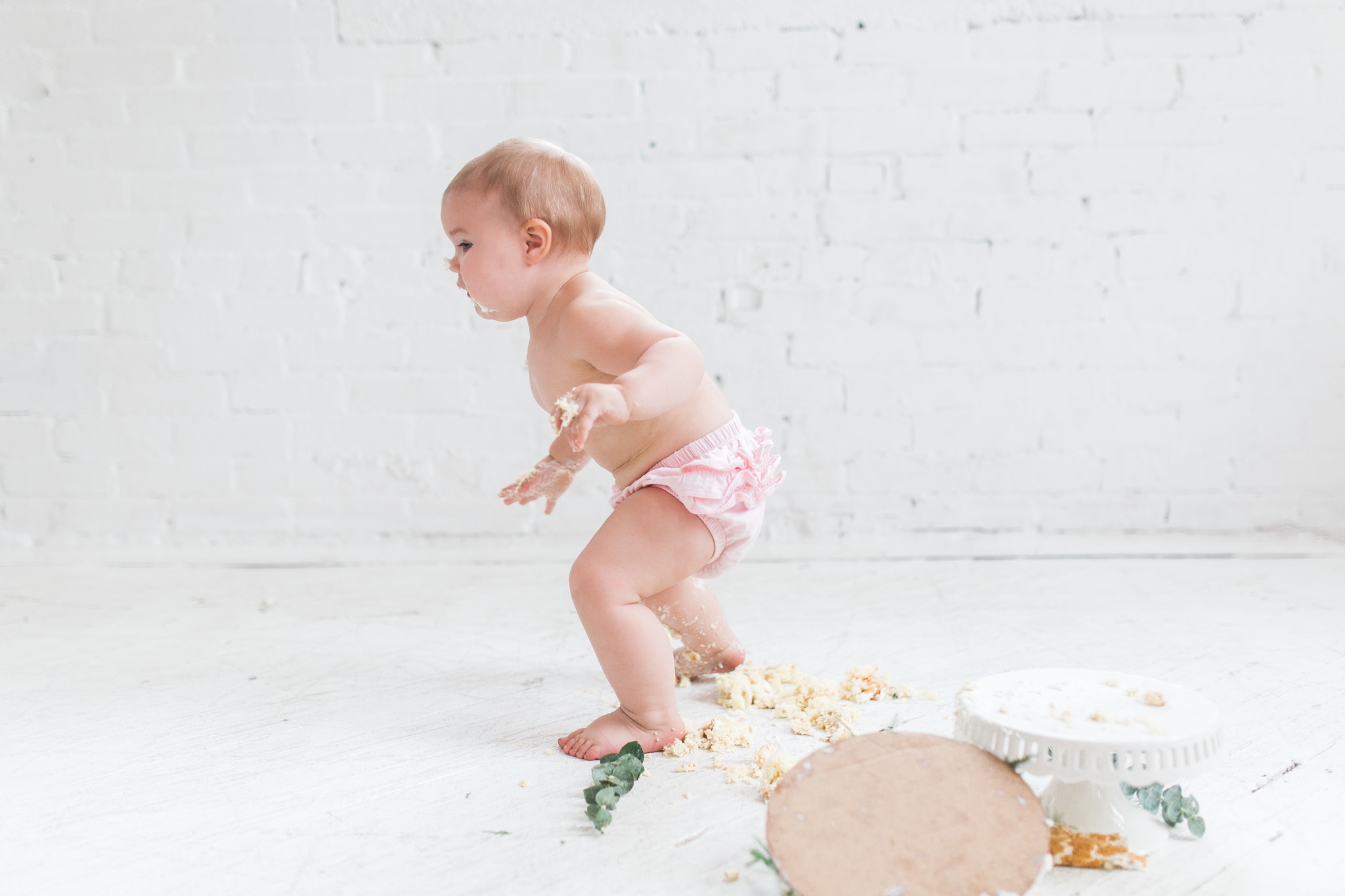 Simple + Raw +  Minimalistic Cake Smash Session | Natural Light Studio | One Year Old Baby Girl | Pink Ruffle Diaper Cover