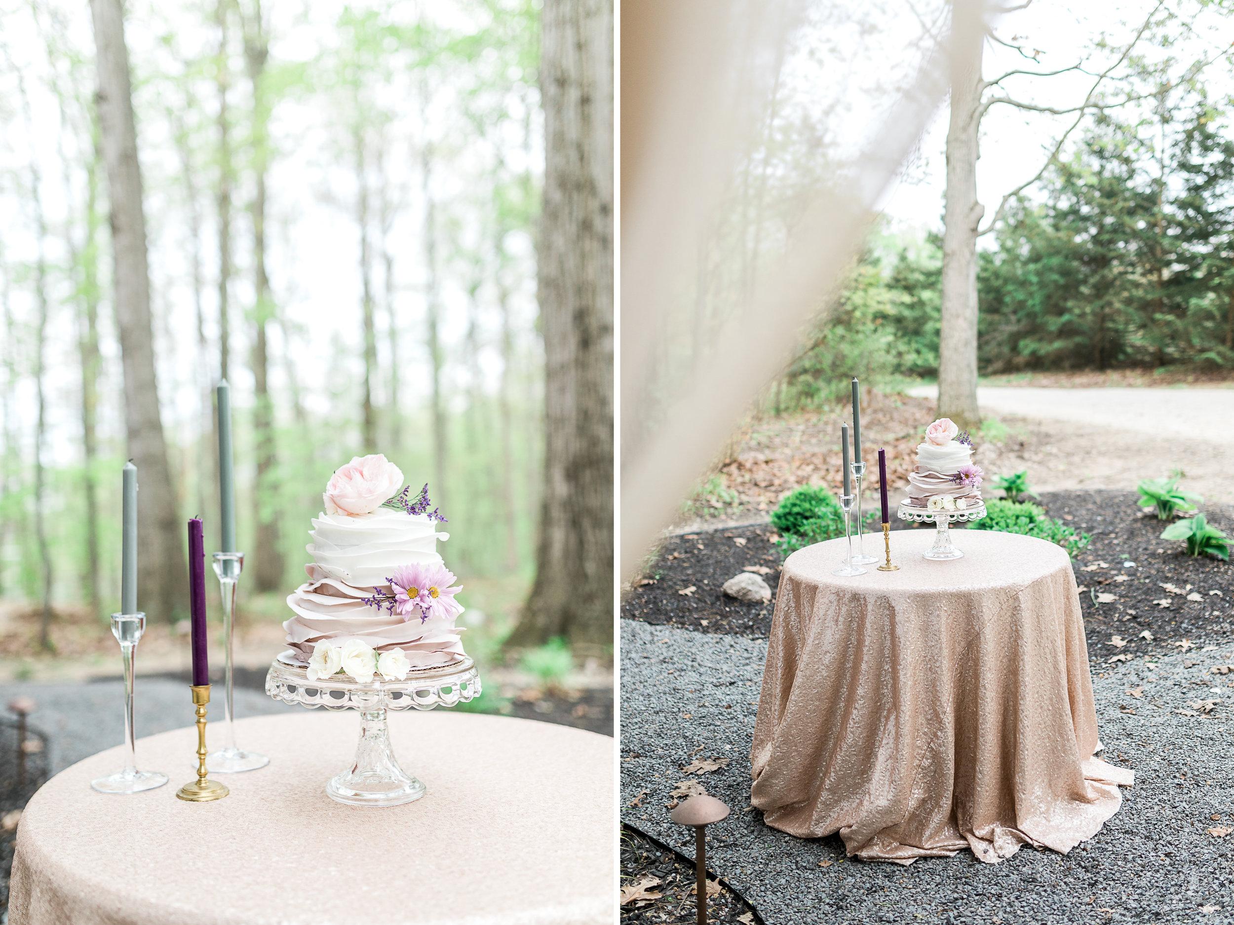 Ruffle Wedding Cake | Styled Wedding Shoot at Gable Hill Barn | Elegant Chic Wedding | Laurenda Marie Photography | West Michigan Wedding Photographer |