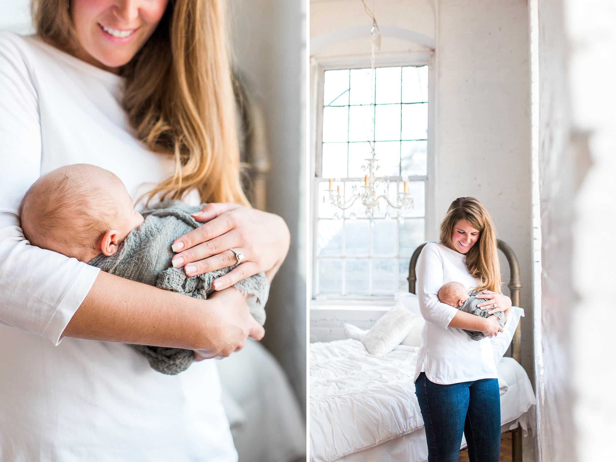 White Studio Newborn Lifestyle Session with New Parents | Laurenda Marie Photography | Grand Rapids, Michigan